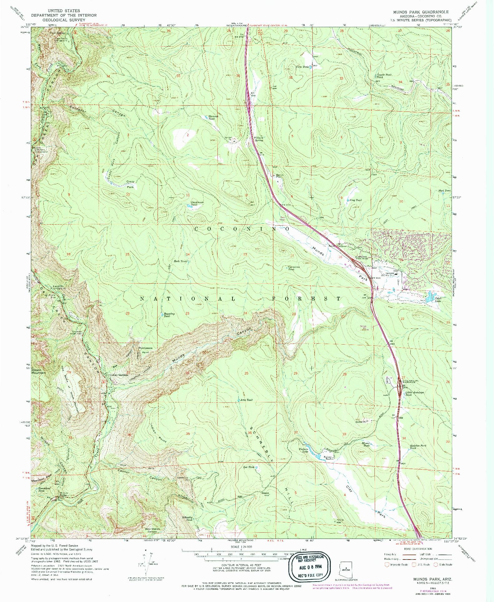 USGS 1:24000-SCALE QUADRANGLE FOR MUNDS PARK, AZ 1965