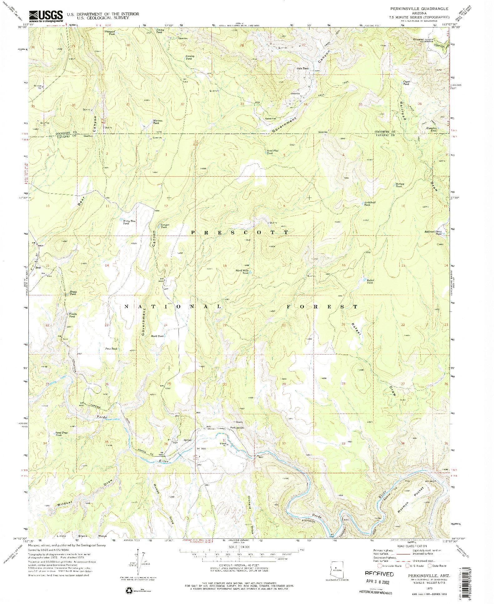 USGS 1:24000-SCALE QUADRANGLE FOR PERKINSVILLE, AZ 1973