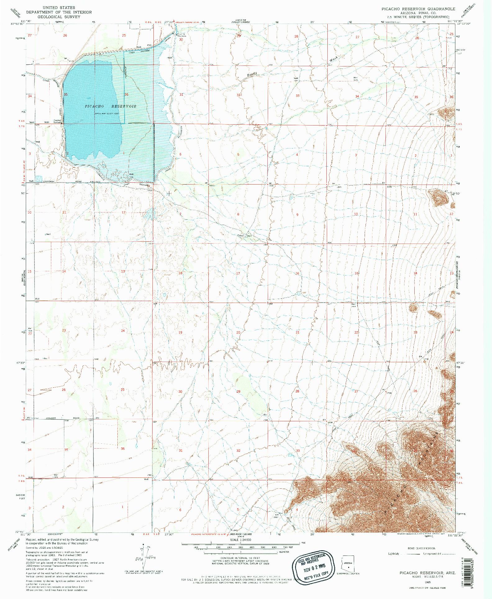 USGS 1:24000-SCALE QUADRANGLE FOR PICACHO RESERVOIR, AZ 1968