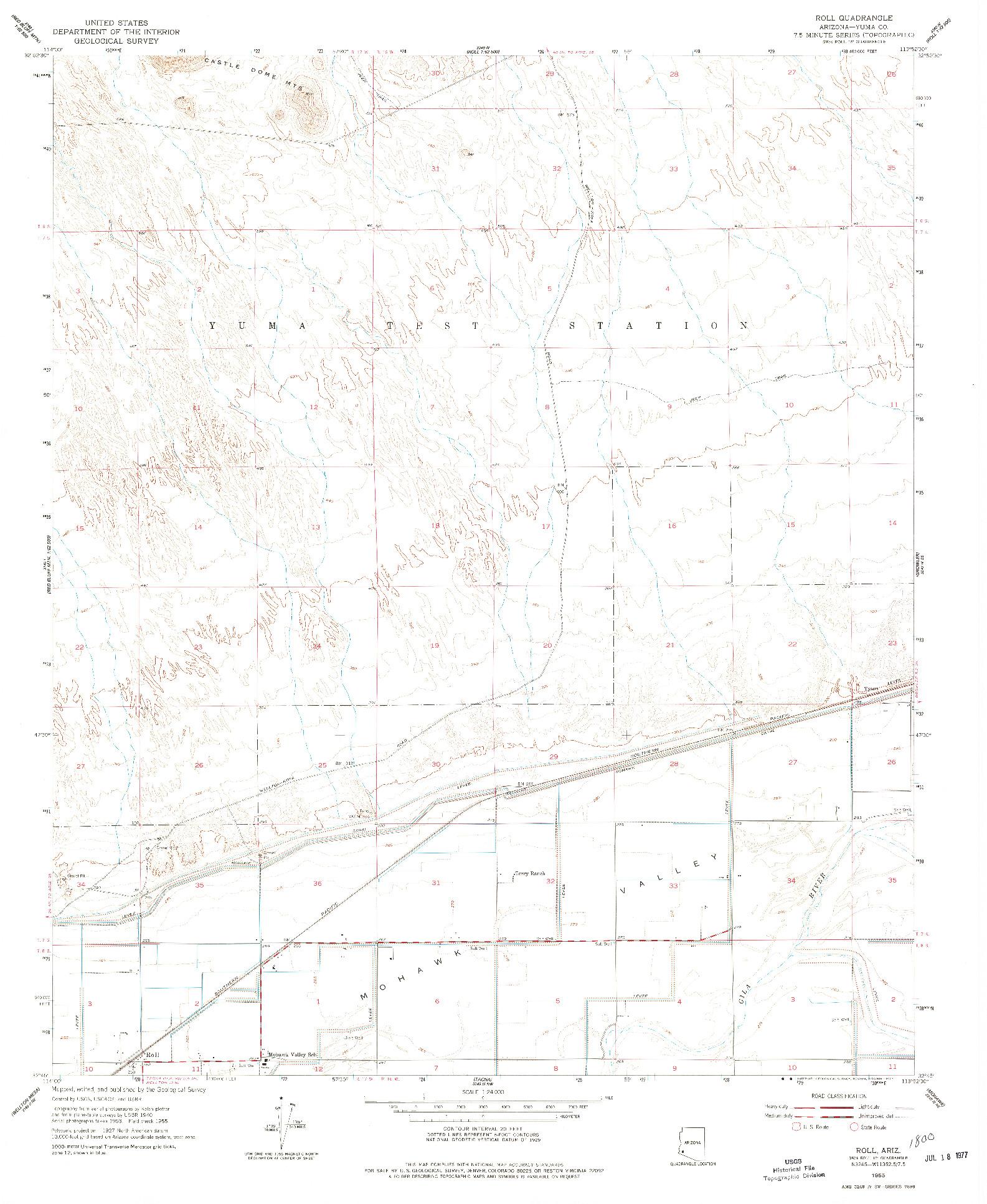USGS 1:24000-SCALE QUADRANGLE FOR ROLL, AZ 1955