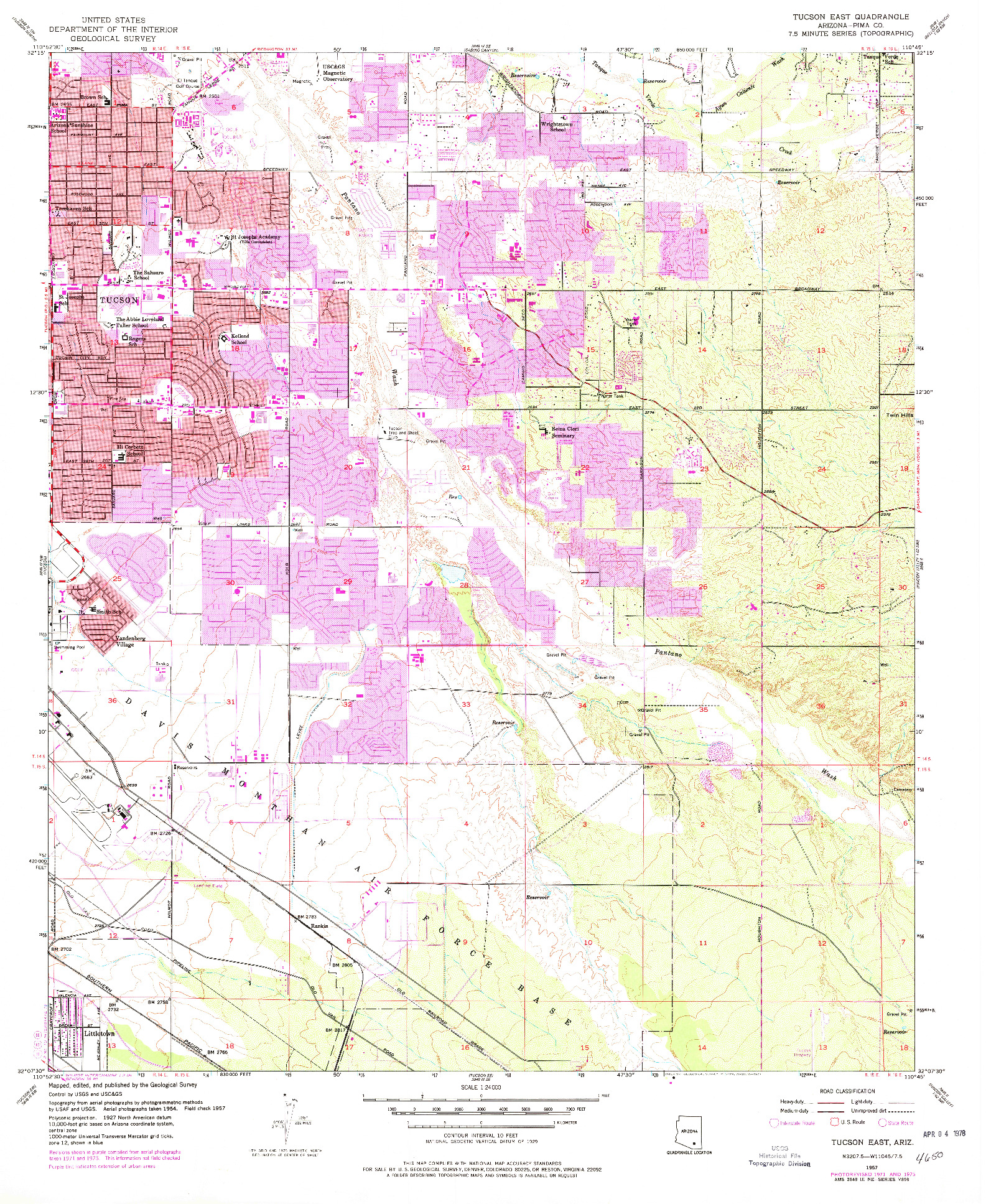 USGS 1:24000-SCALE QUADRANGLE FOR TUCSON EAST, AZ 1957