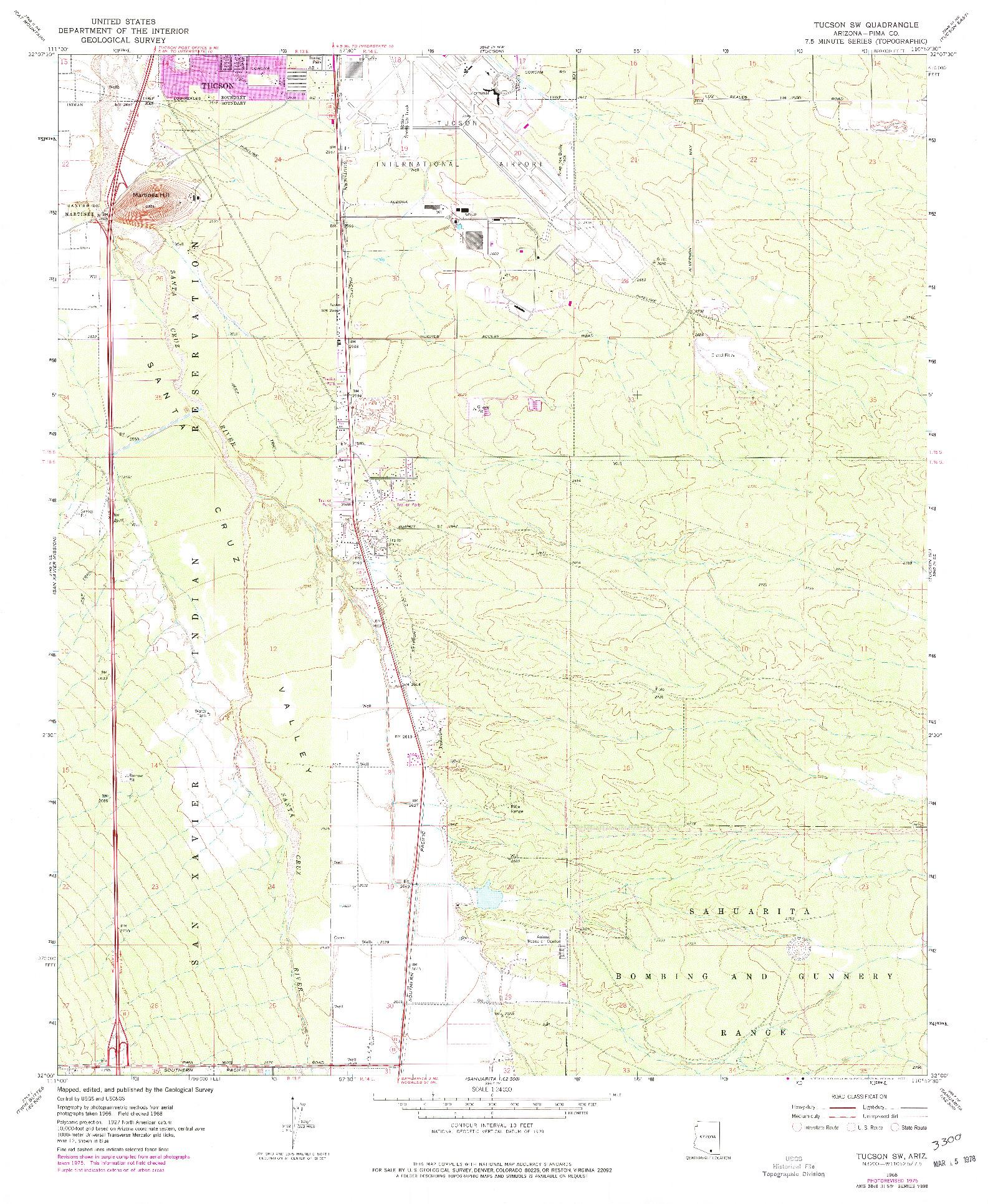 USGS 1:24000-SCALE QUADRANGLE FOR TUCSON SW, AZ 1968