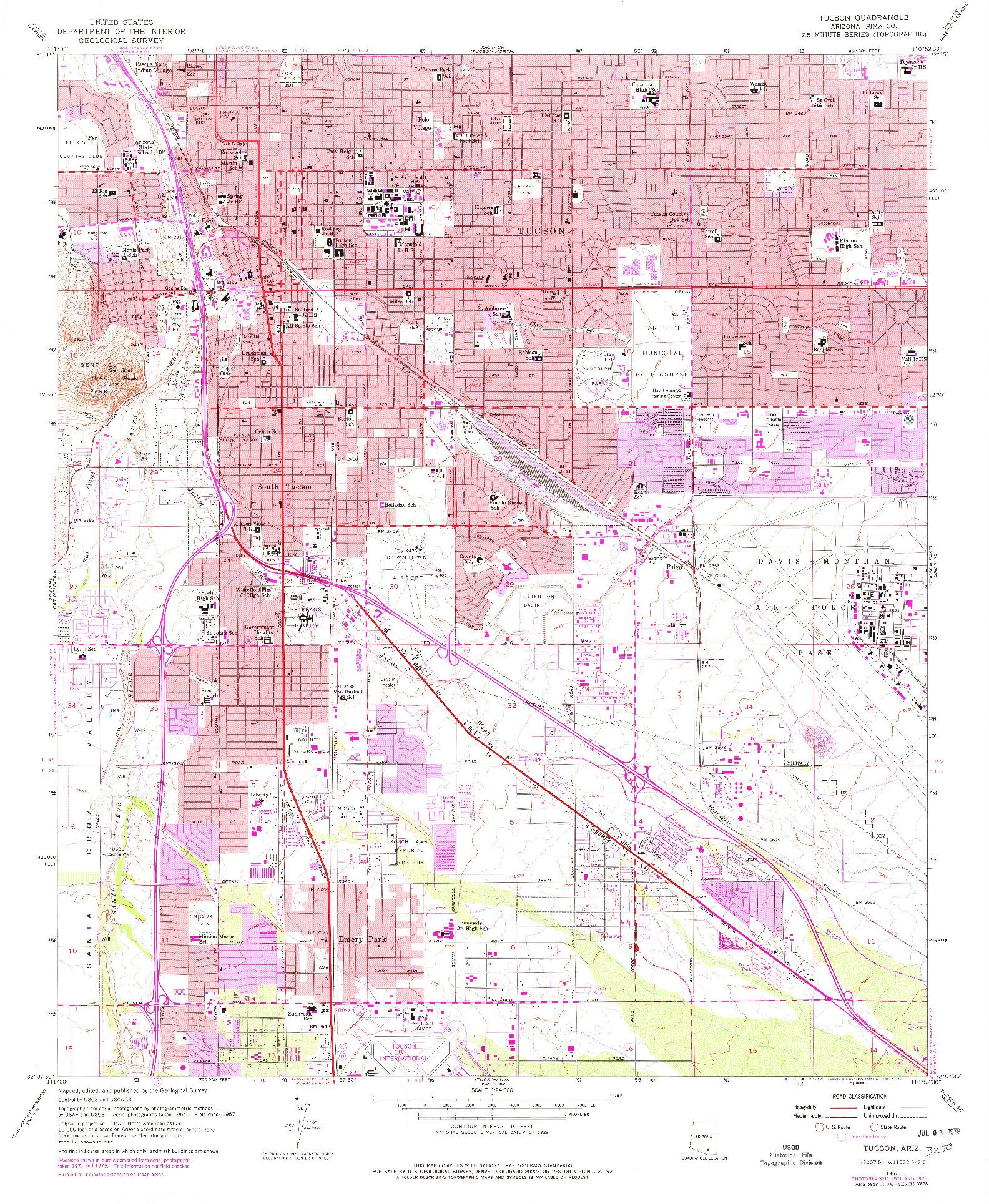 USGS 1:24000-SCALE QUADRANGLE FOR TUCSON, AZ 1957