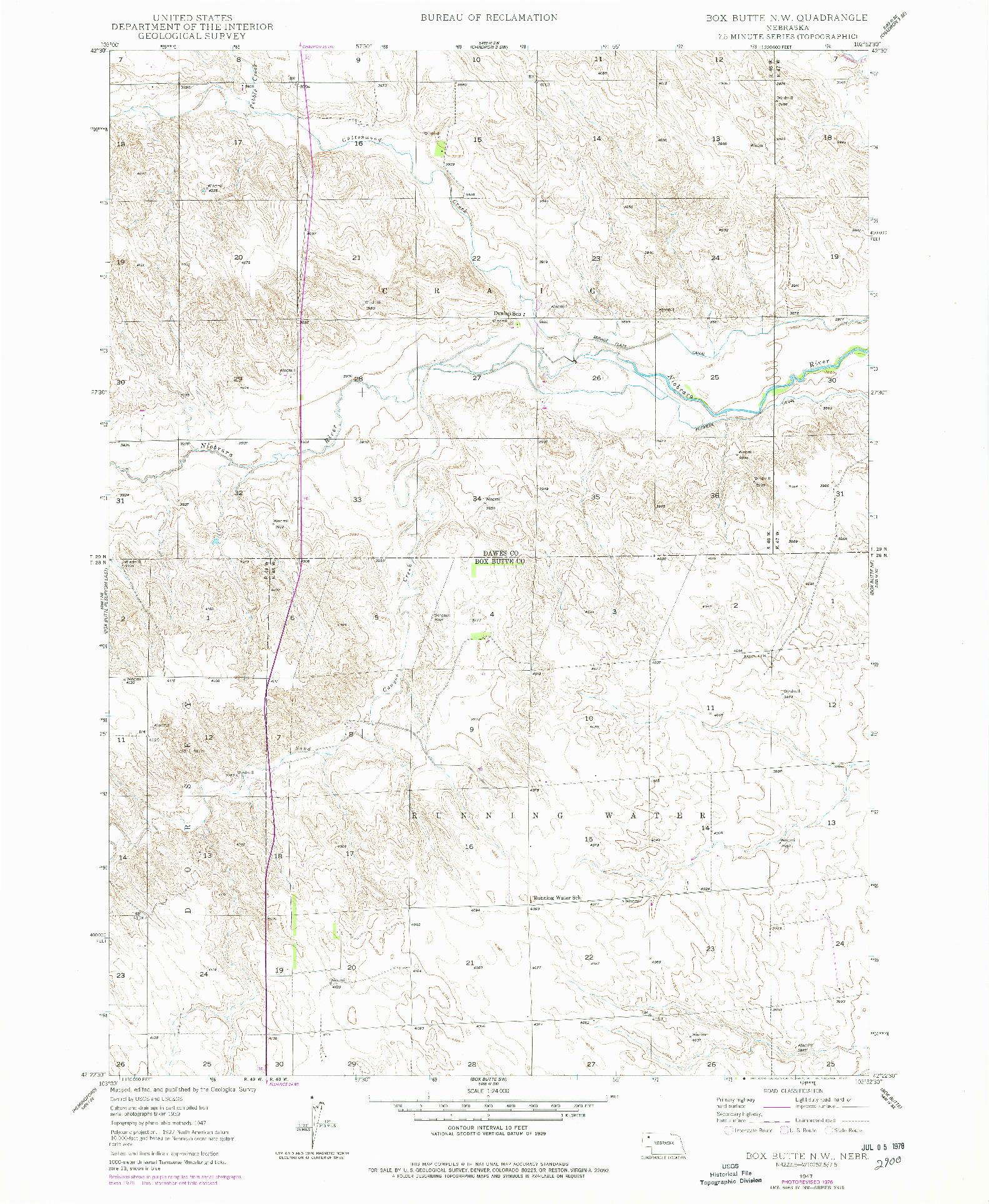 USGS 1:24000-SCALE QUADRANGLE FOR BOX BUTTE NW, NE 1947
