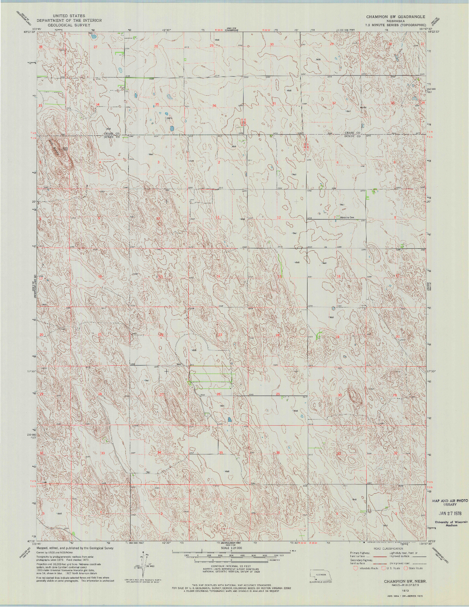 USGS 1:24000-SCALE QUADRANGLE FOR CHAMPION SW, NE 1973