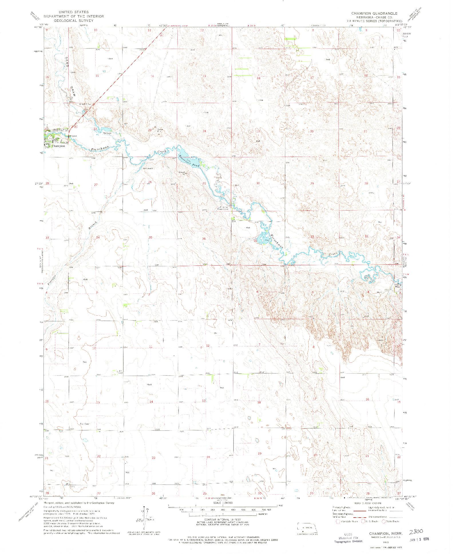 USGS 1:24000-SCALE QUADRANGLE FOR CHAMPION, NE 1973