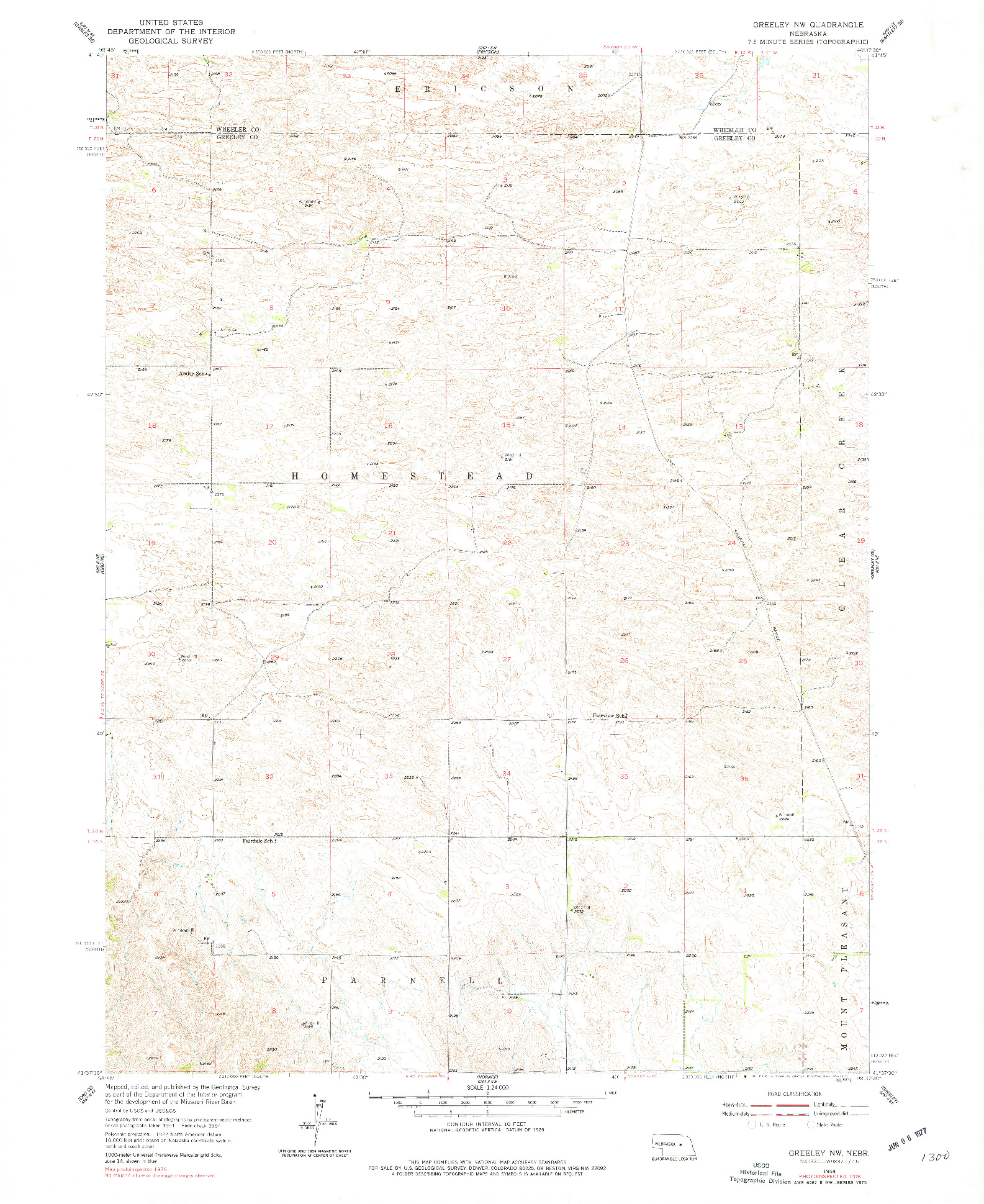 USGS 1:24000-SCALE QUADRANGLE FOR GREELEY NW, NE 1954