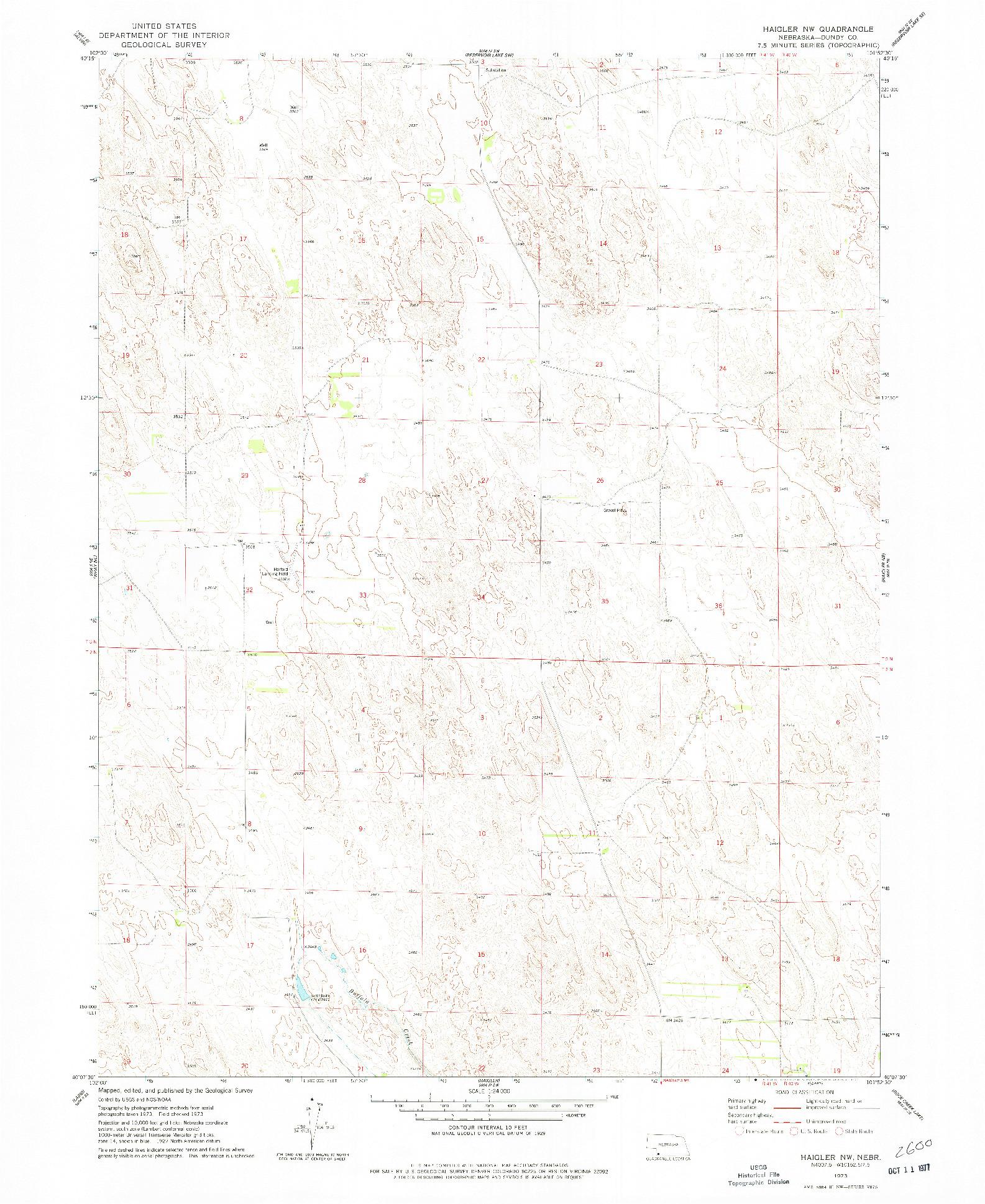 USGS 1:24000-SCALE QUADRANGLE FOR HAIGLER NW, NE 1973