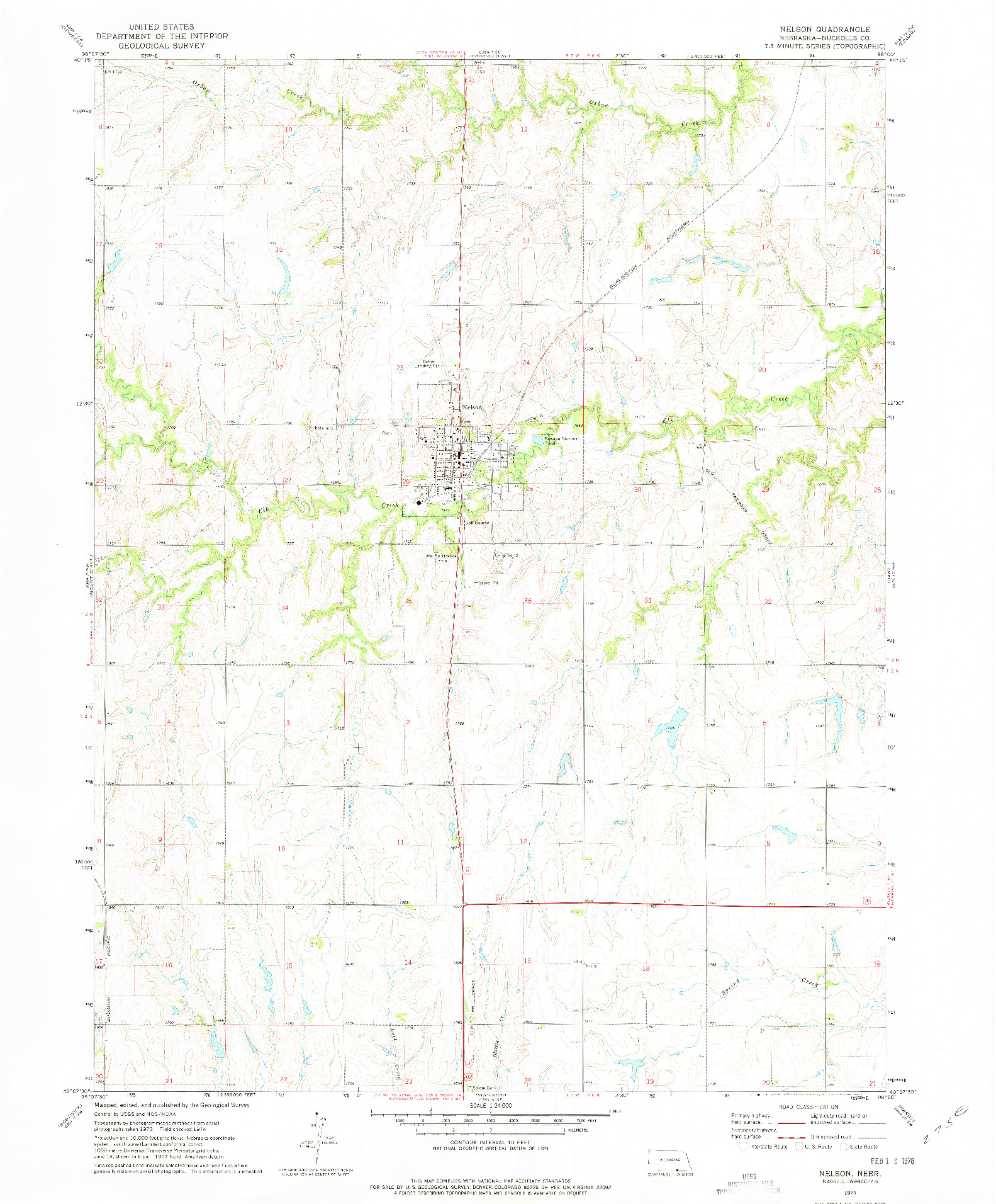USGS 1:24000-SCALE QUADRANGLE FOR NELSON, NE 1974