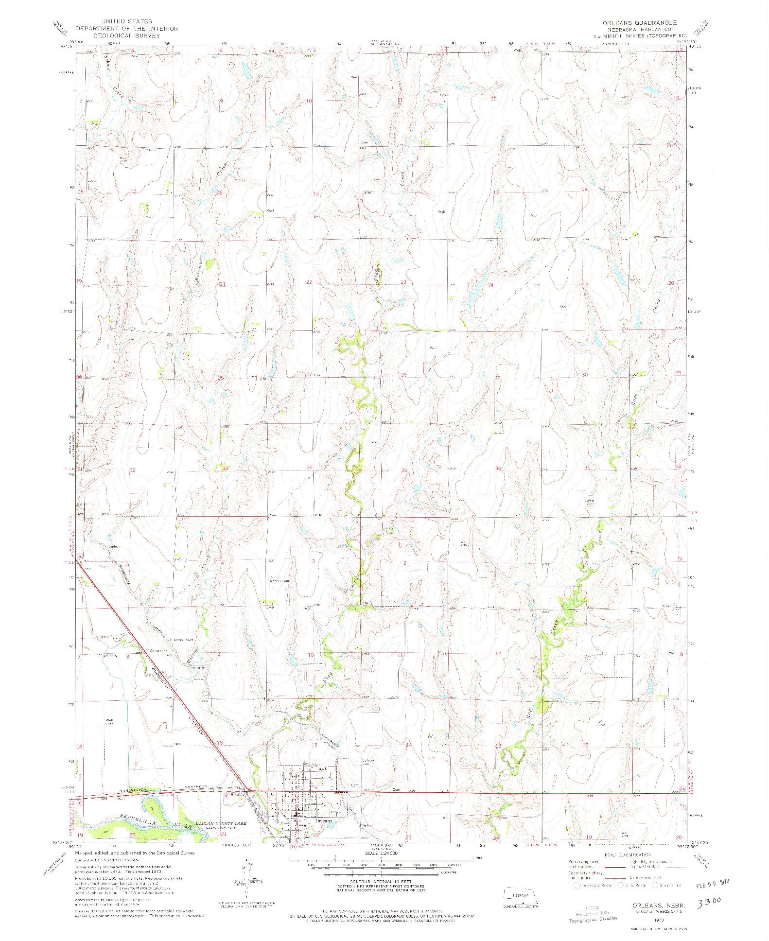 USGS 1:24000-SCALE QUADRANGLE FOR ORLEANS, NE 1973