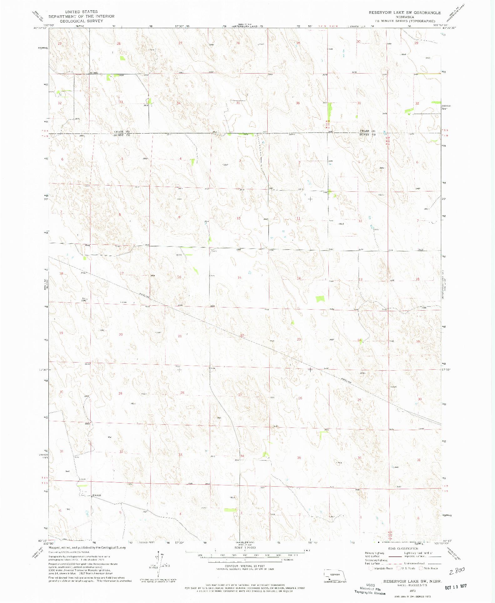 USGS 1:24000-SCALE QUADRANGLE FOR RESERVOIR LAKE SW, NE 1973