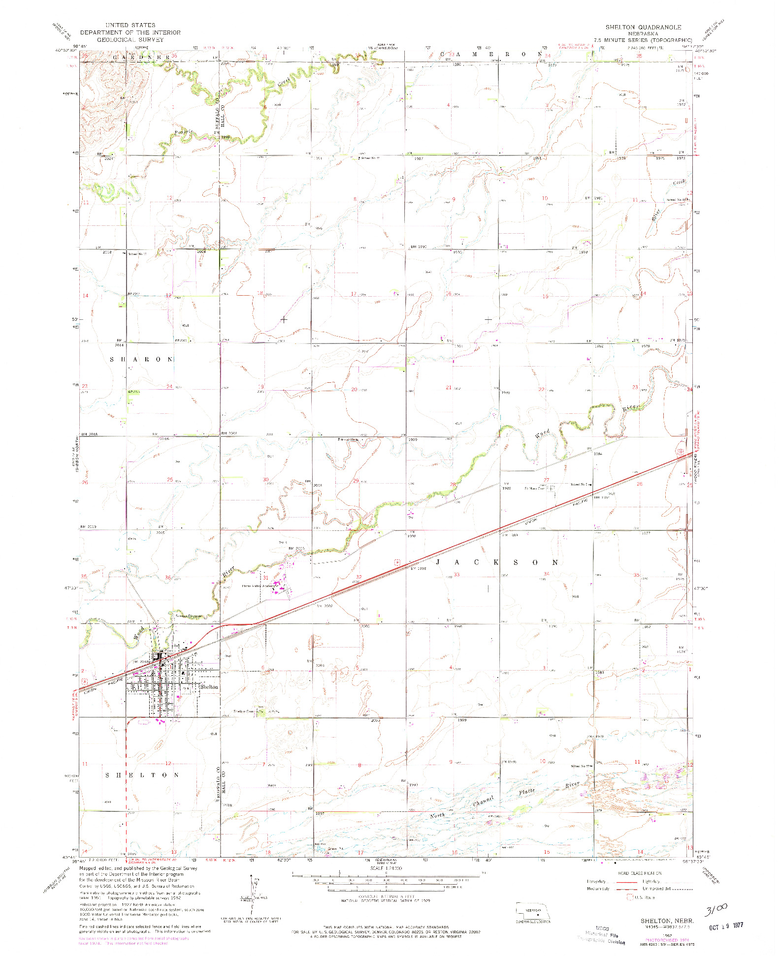 USGS 1:24000-SCALE QUADRANGLE FOR SHELTON, NE 1962