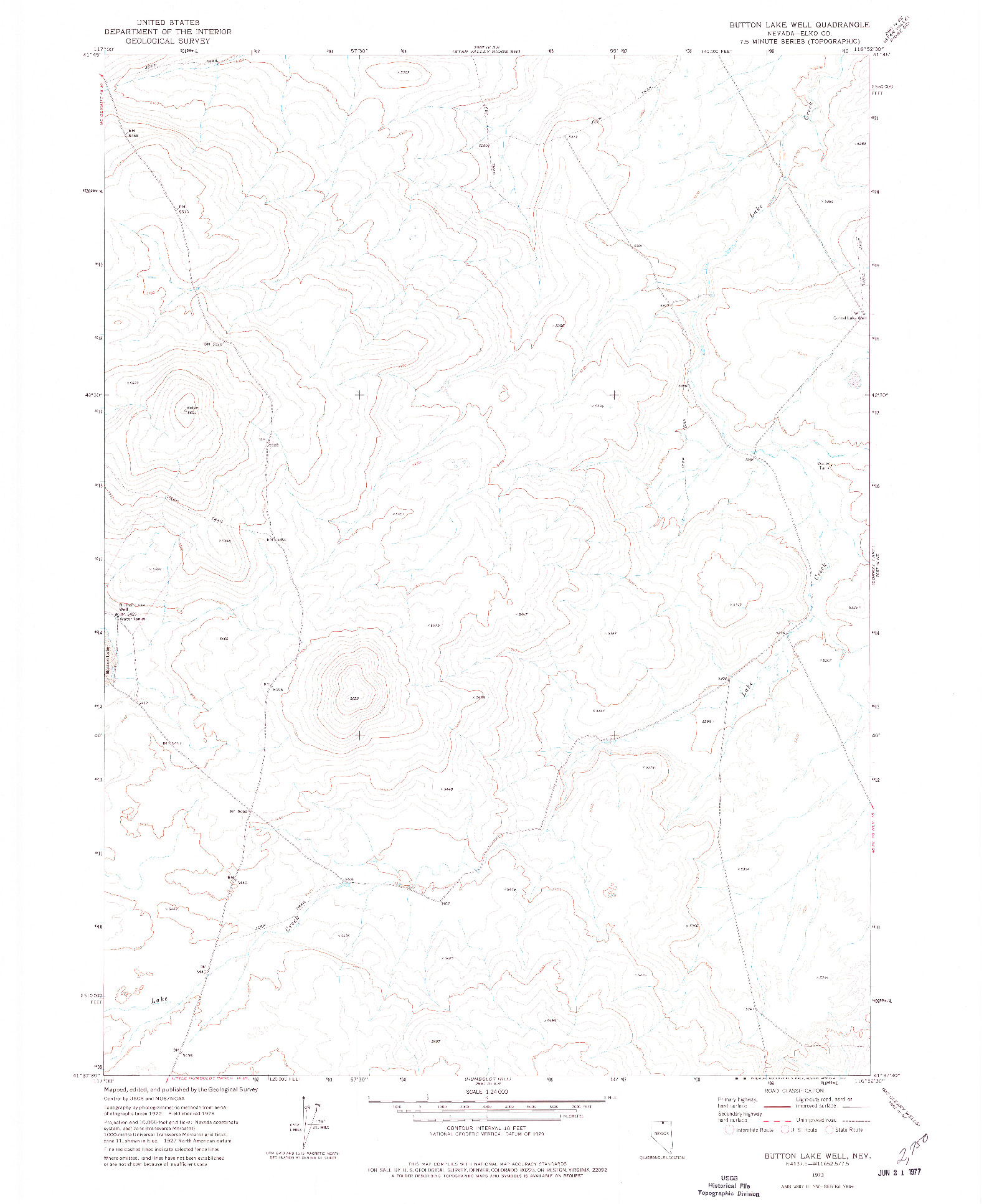 USGS 1:24000-SCALE QUADRANGLE FOR BUTTON LAKE WELL, NV 1973