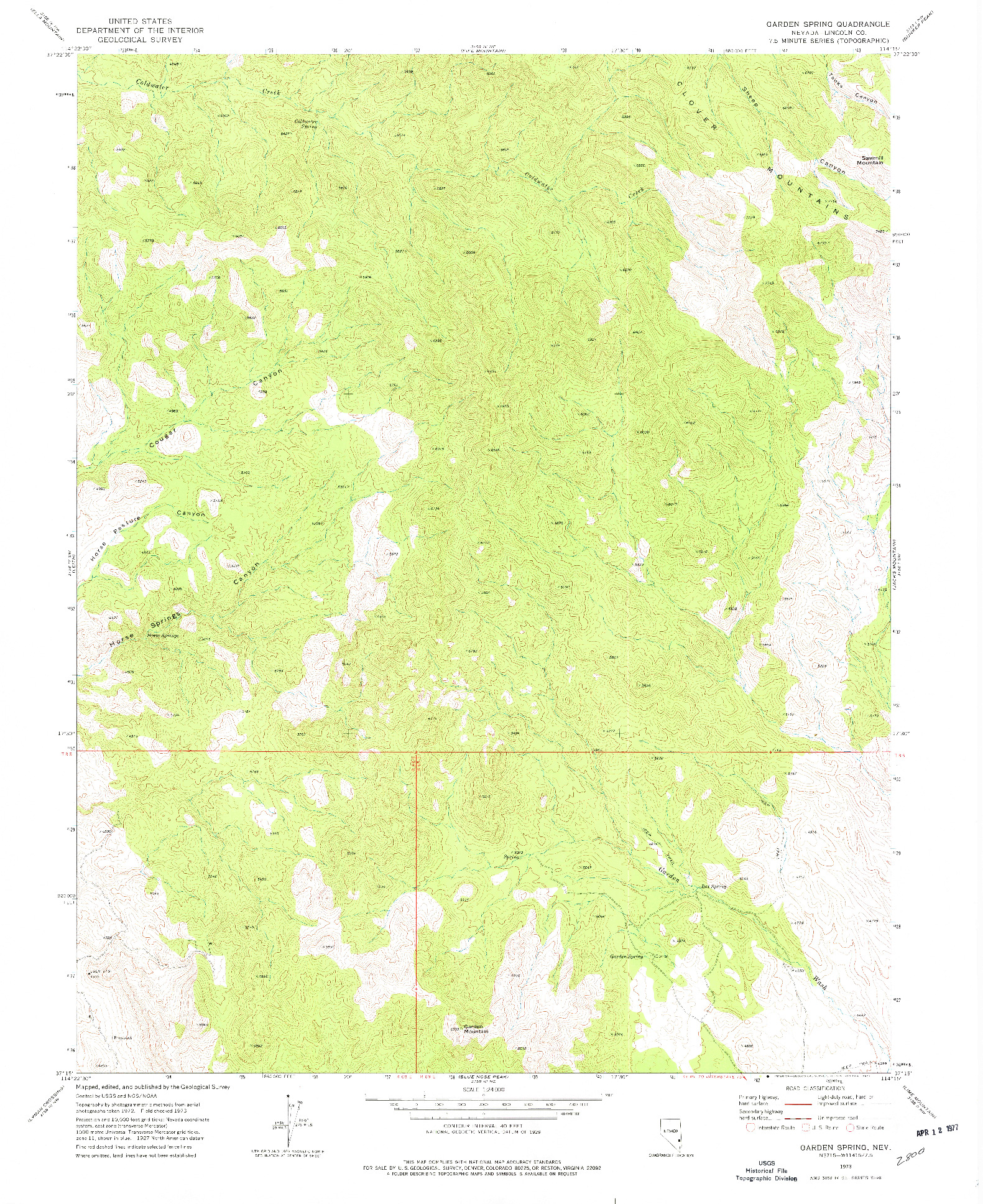 USGS 1:24000-SCALE QUADRANGLE FOR GARDEN SPRING, NV 1973