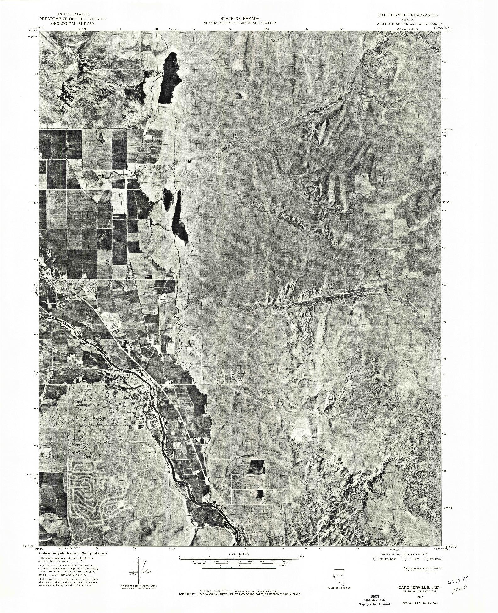 USGS 1:24000-SCALE QUADRANGLE FOR GARDNERVILLE, NV 1974