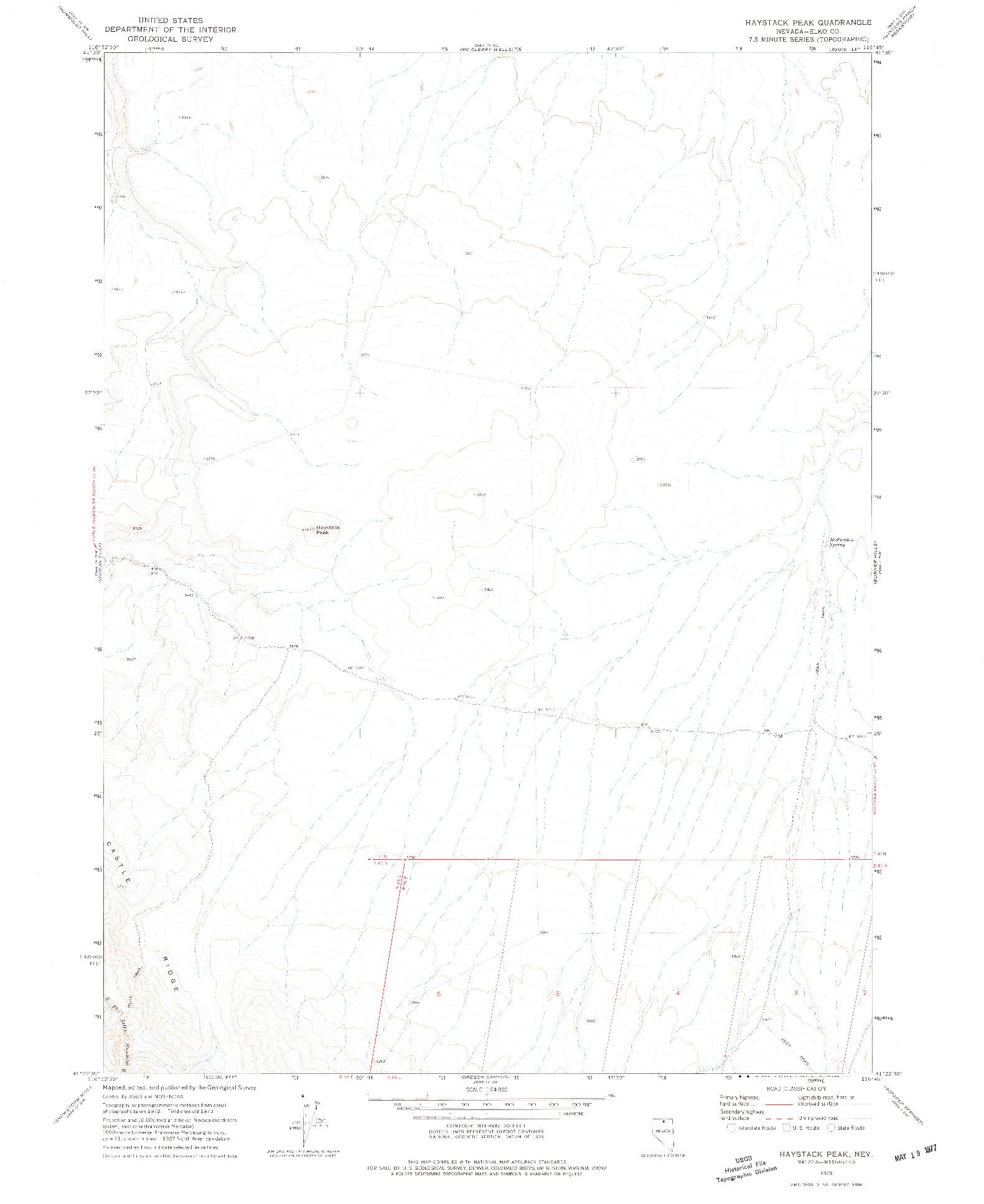 USGS 1:24000-SCALE QUADRANGLE FOR HAYSTACK PEAK, NV 1973