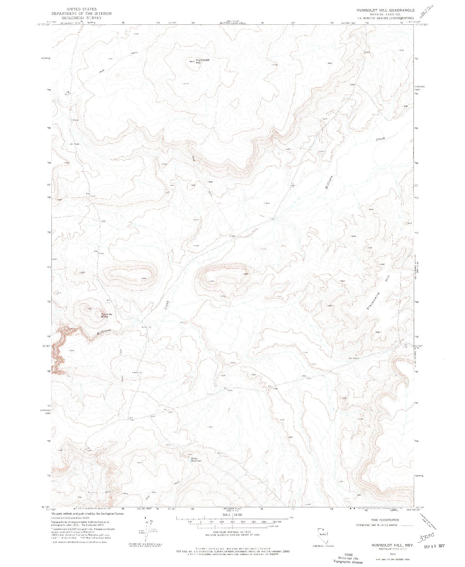 USGS 1:24000-SCALE QUADRANGLE FOR HUMBOLDT HILL, NV 1973