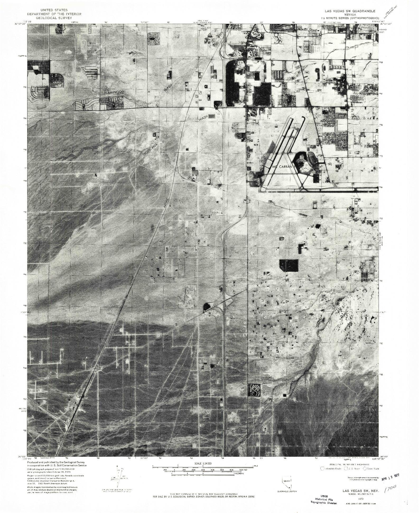 USGS 1:24000-SCALE QUADRANGLE FOR LAS VEGAS SW, NV 1973