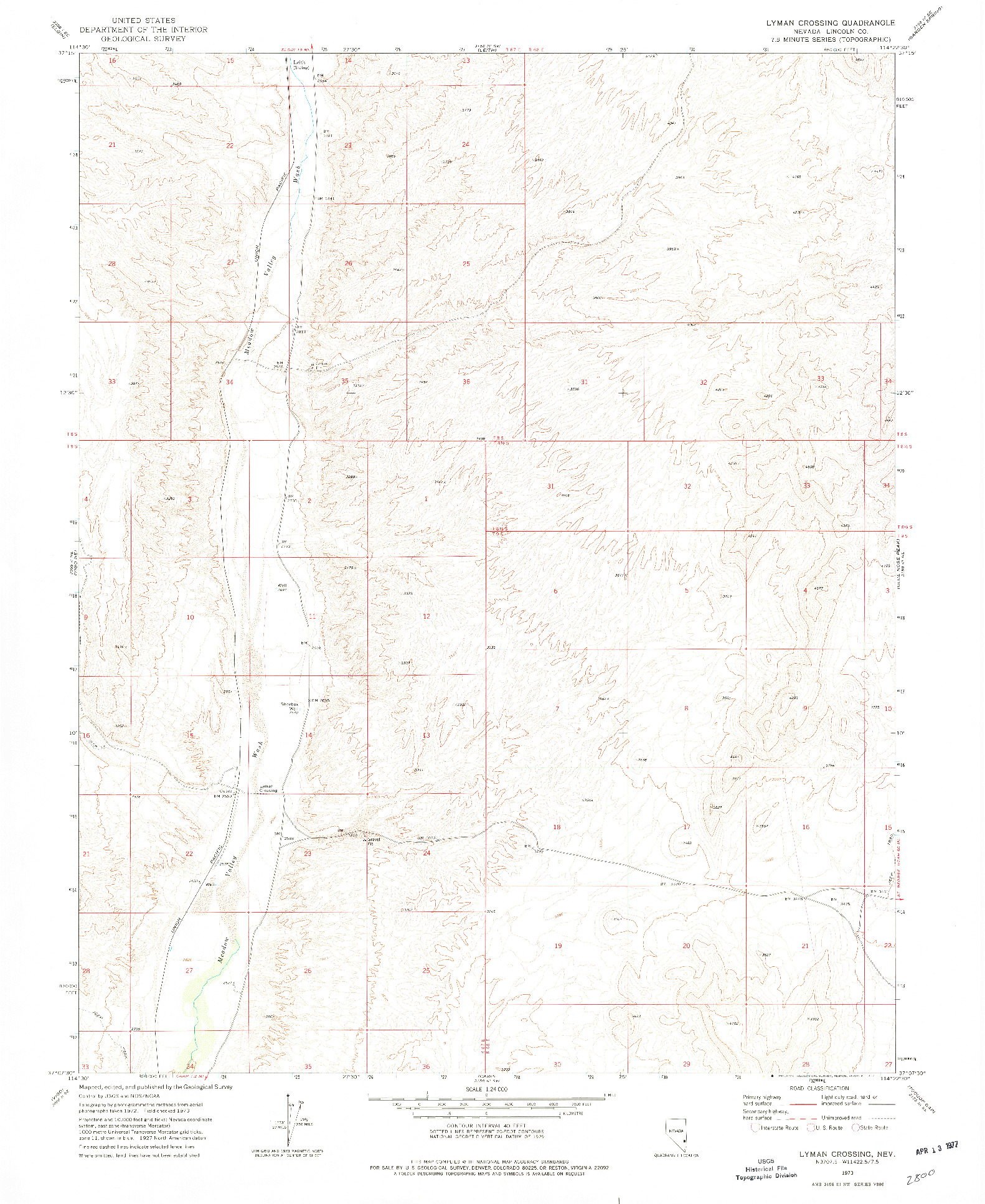USGS 1:24000-SCALE QUADRANGLE FOR LYMAN CROSSING, NV 1973