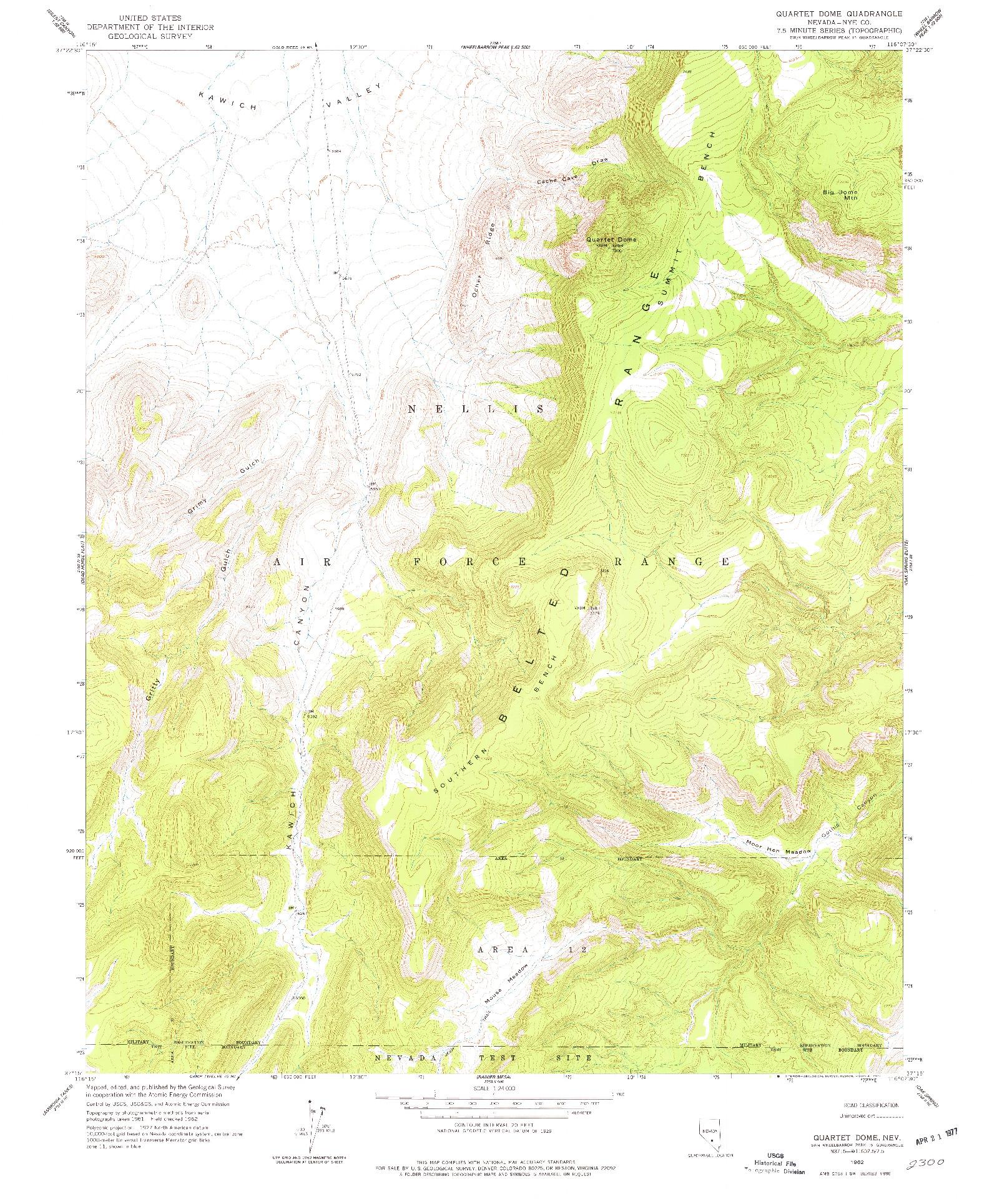 USGS 1:24000-SCALE QUADRANGLE FOR QUARTET DOME, NV 1962