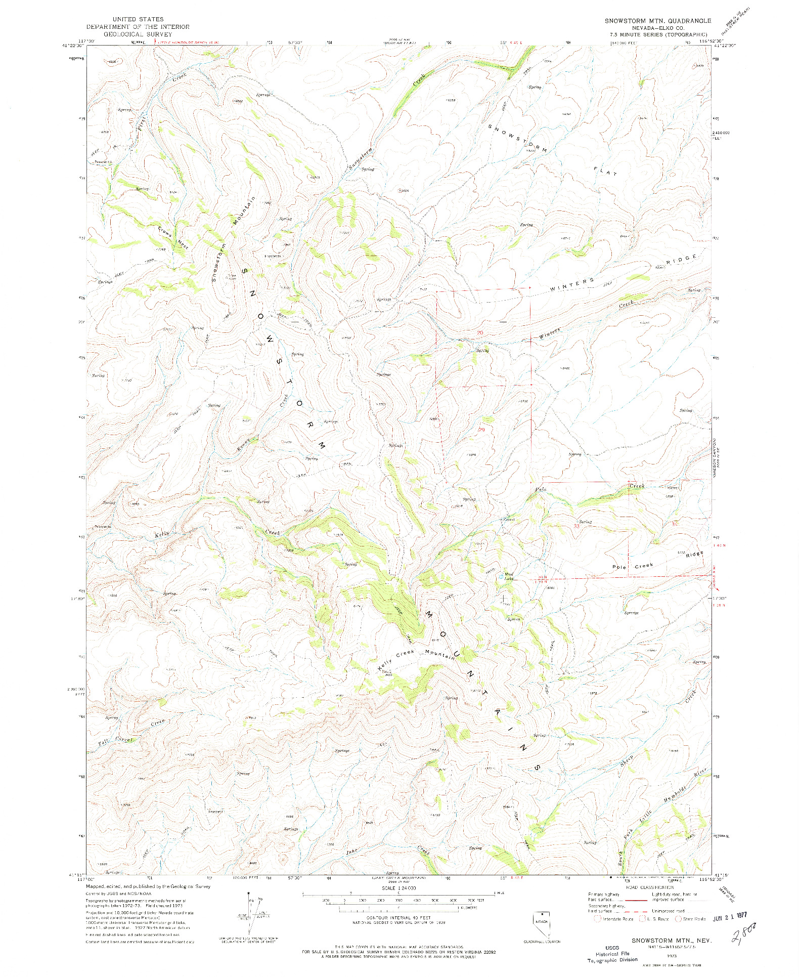 USGS 1:24000-SCALE QUADRANGLE FOR SNOWSTORM MTN, NV 1973