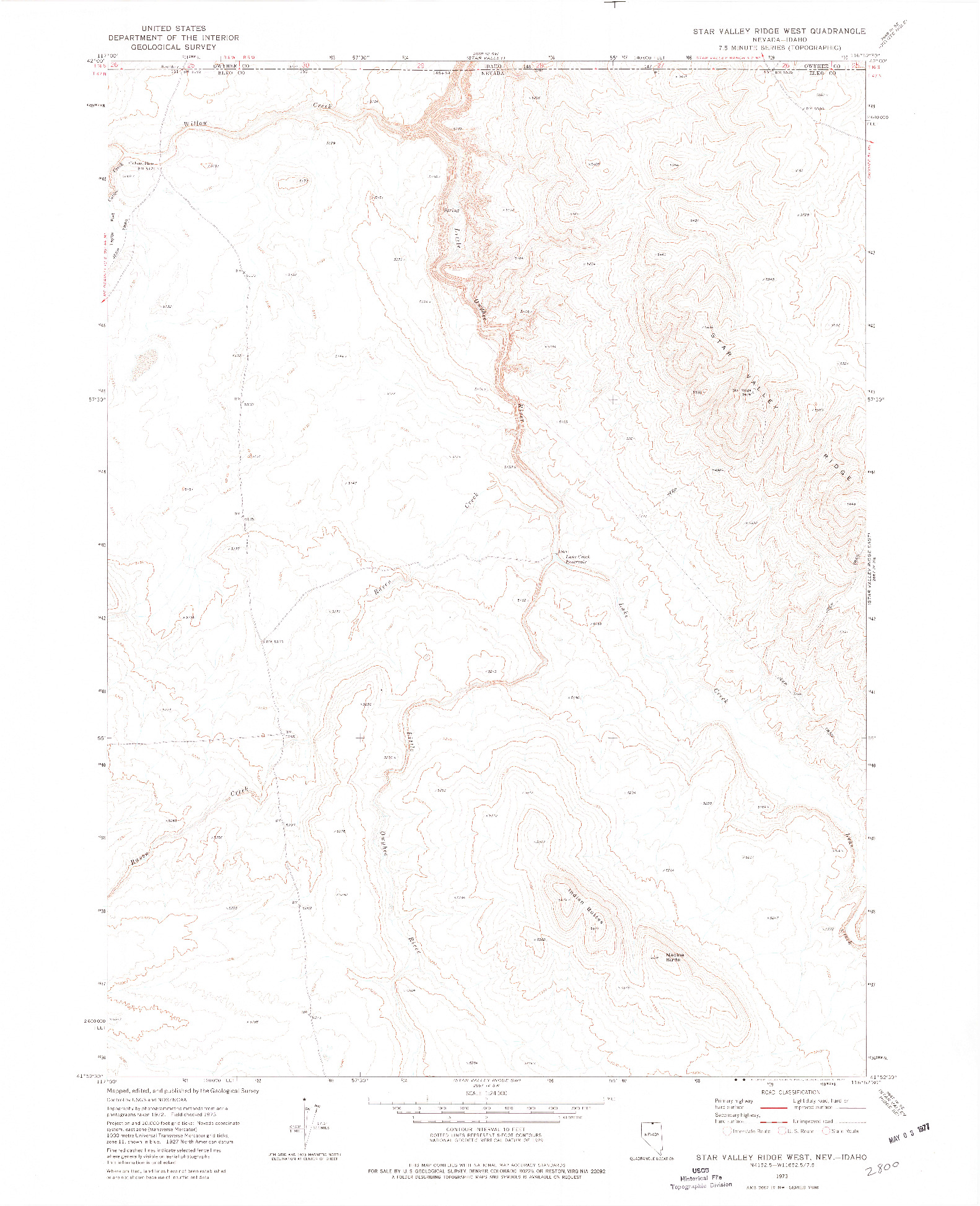 USGS 1:24000-SCALE QUADRANGLE FOR STAR VALLEY RIDGE WEST, NV 1973