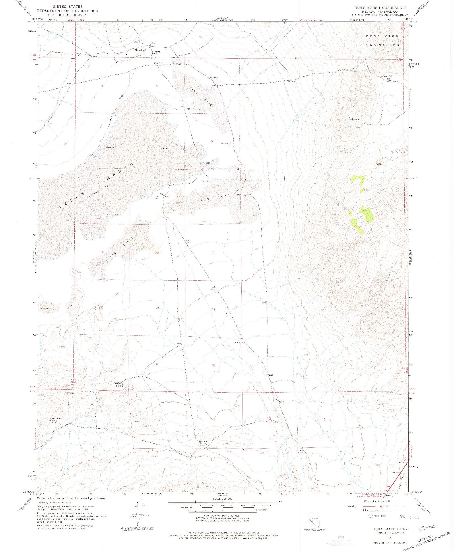 USGS 1:24000-SCALE QUADRANGLE FOR TEELS MARSH, NV 1967