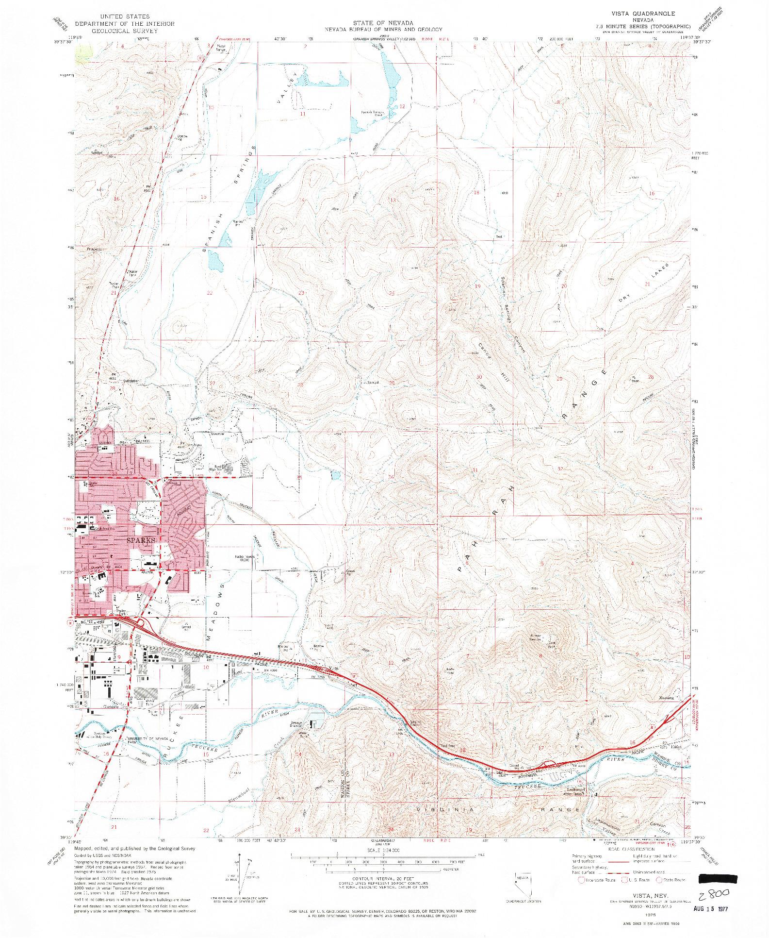 USGS 1:24000-SCALE QUADRANGLE FOR VISTA, NV 1975