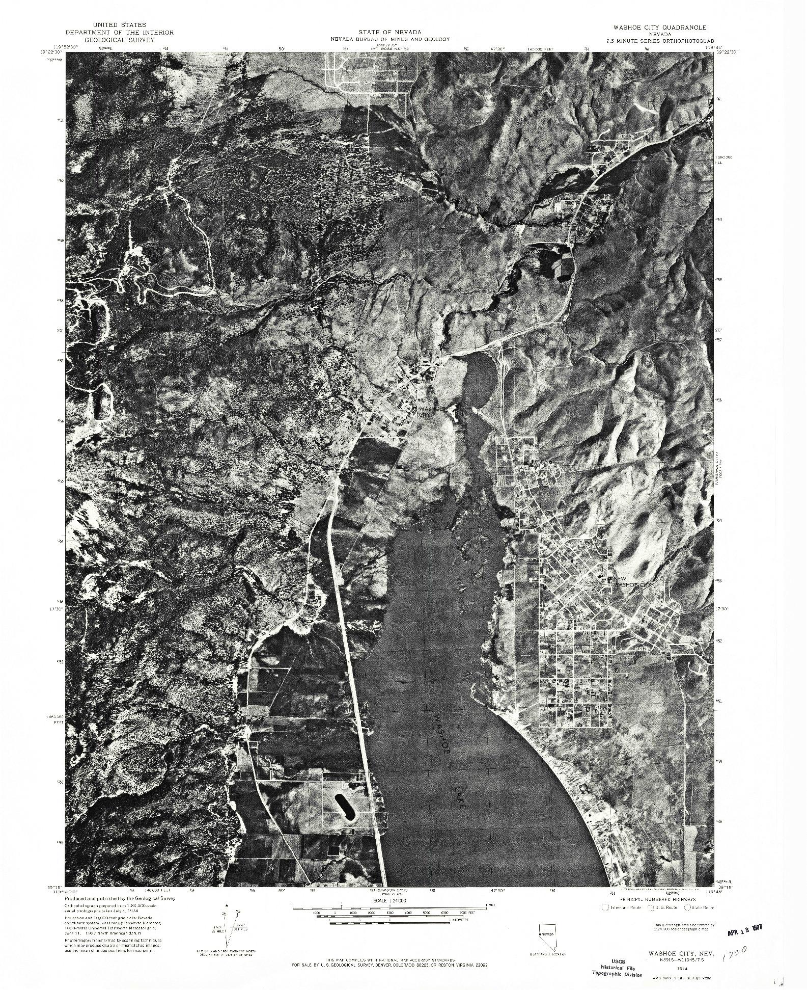 USGS 1:24000-SCALE QUADRANGLE FOR WASHOE CITY, NV 1974