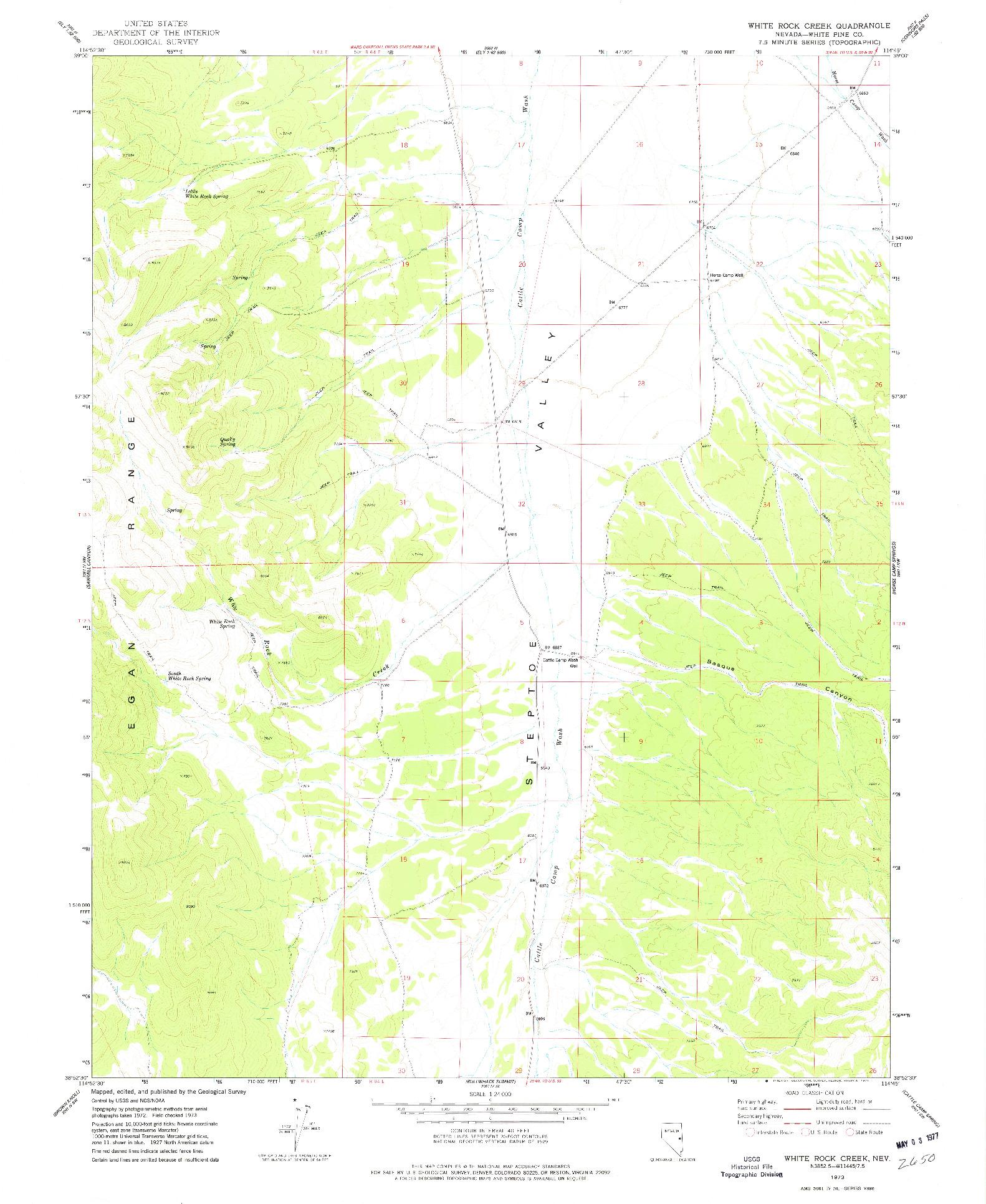 USGS 1:24000-SCALE QUADRANGLE FOR WHITE ROCK CREEK, NV 1973