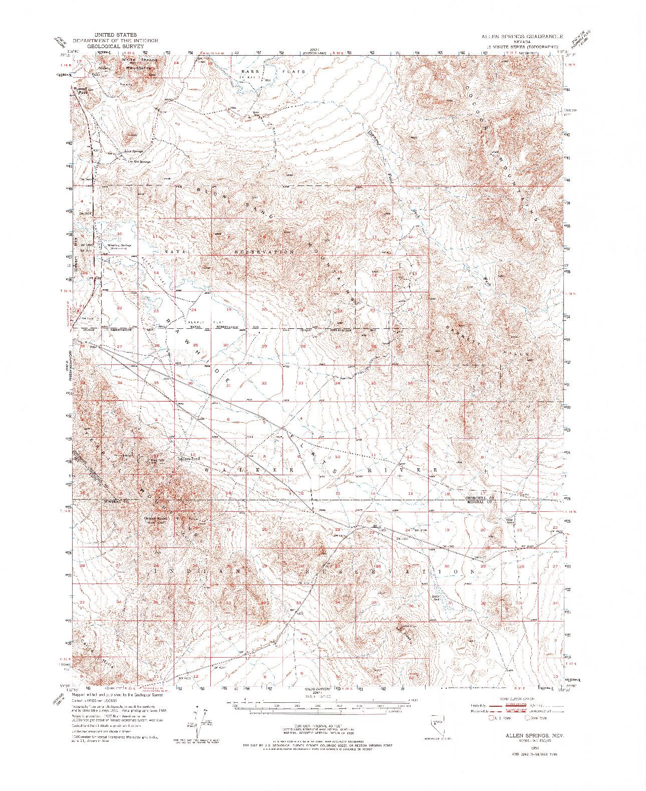 USGS 1:62500-SCALE QUADRANGLE FOR ALLEN SPRINGS, NV 1951
