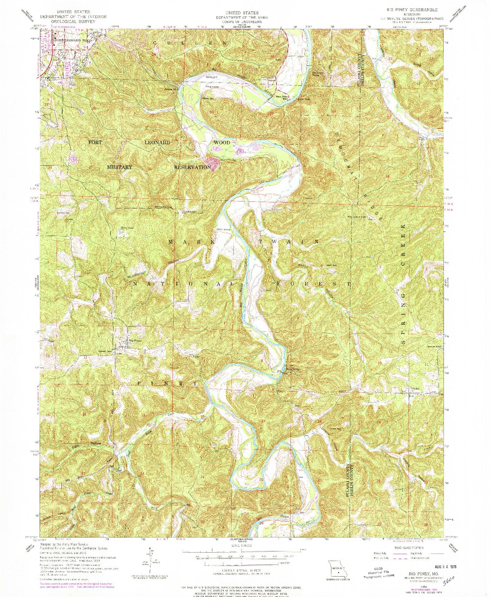 USGS 1:24000-SCALE QUADRANGLE FOR BIG PINEY, MO 1954