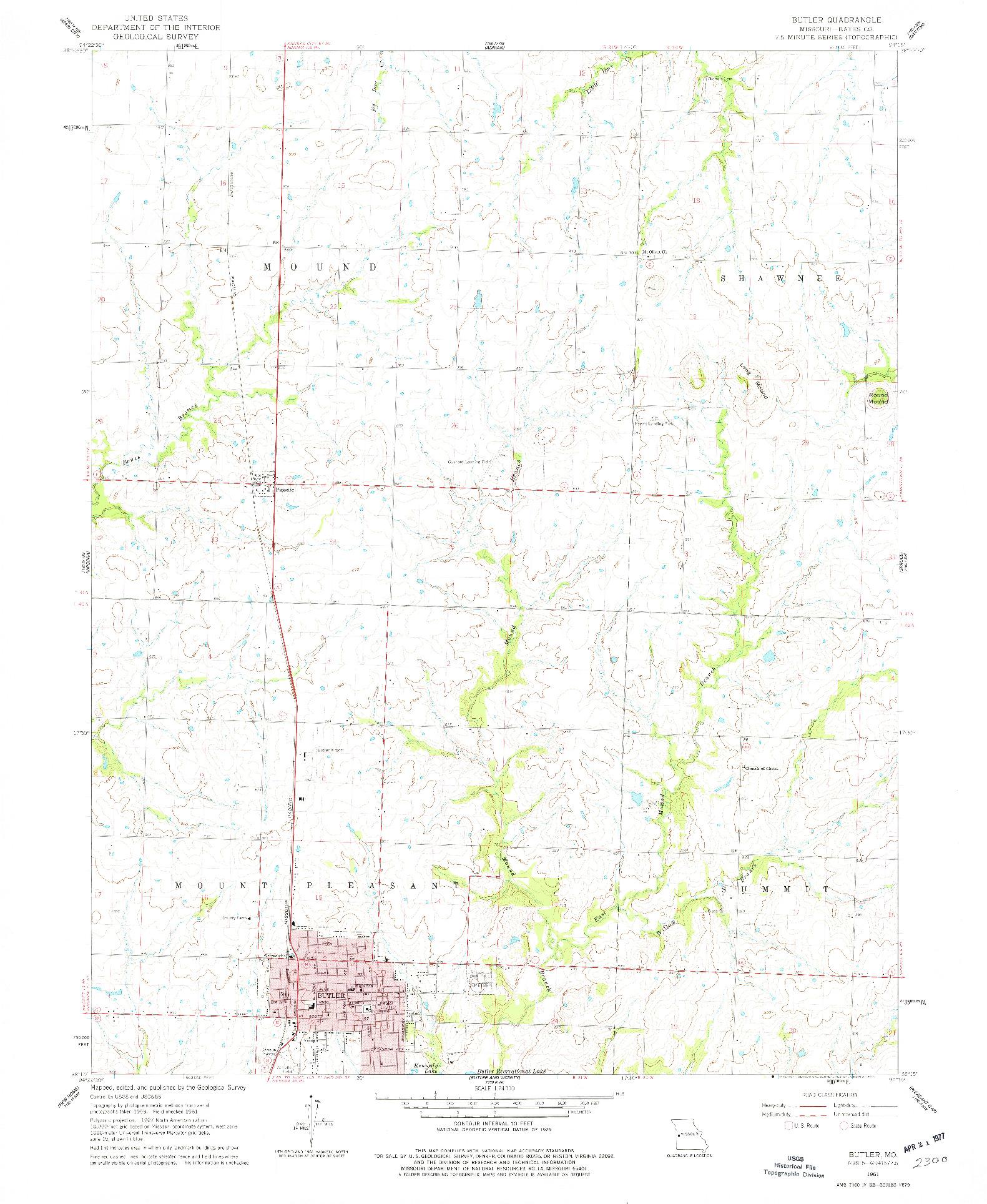 USGS 1:24000-SCALE QUADRANGLE FOR BUTLER, MO 1961