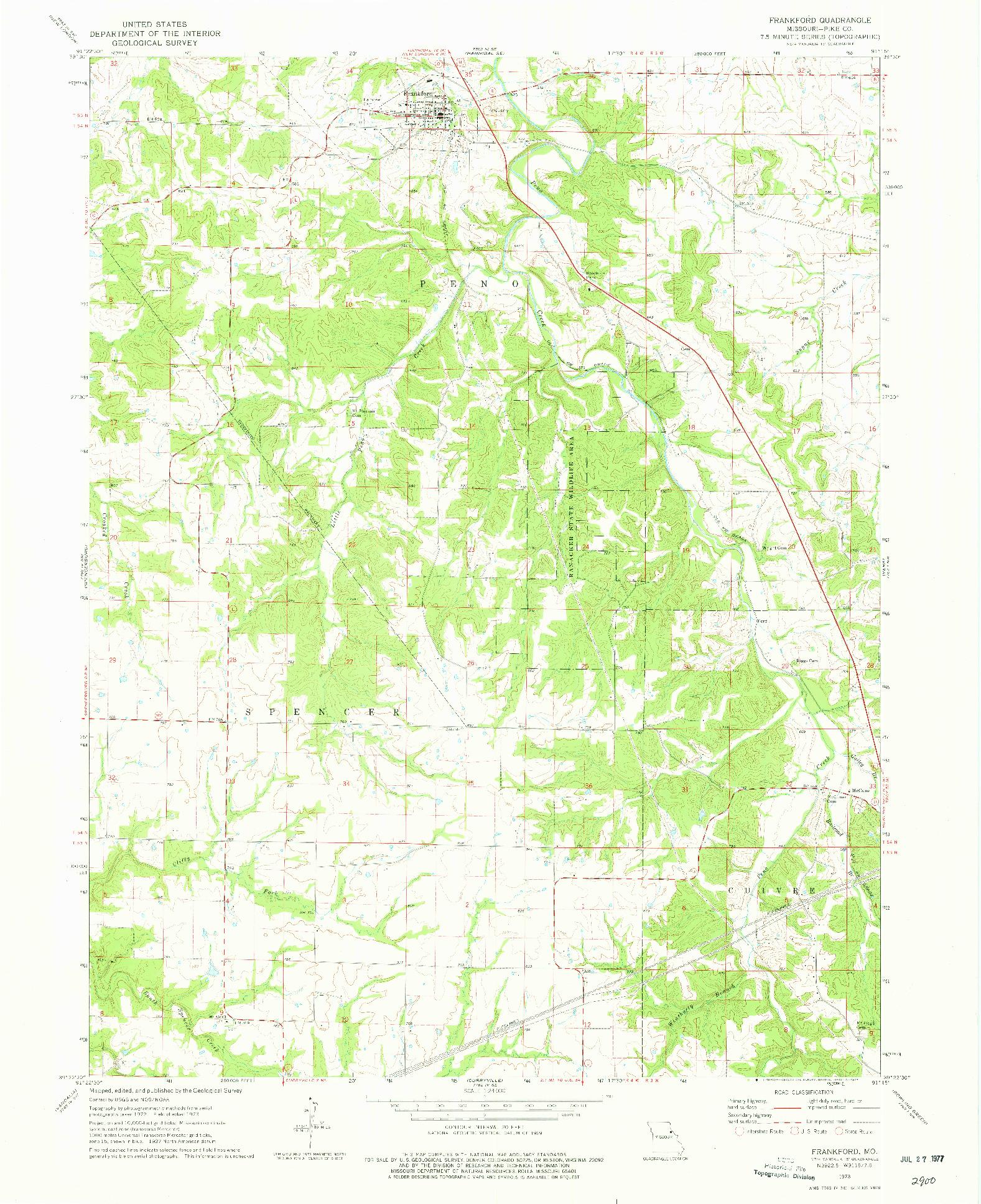 USGS 1:24000-SCALE QUADRANGLE FOR FRANKFORD, MO 1973