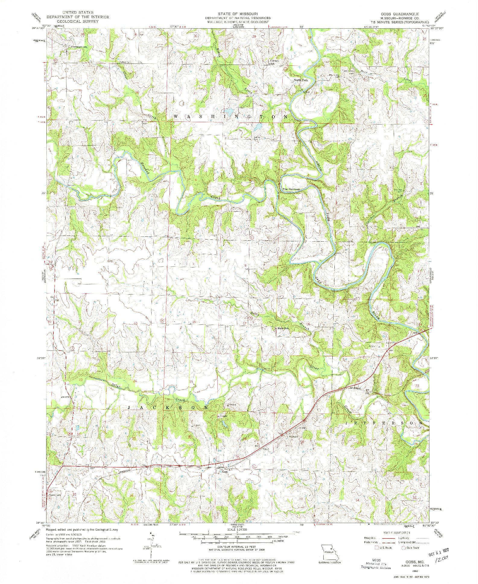 USGS 1:24000-SCALE QUADRANGLE FOR GOSS, MO 1960