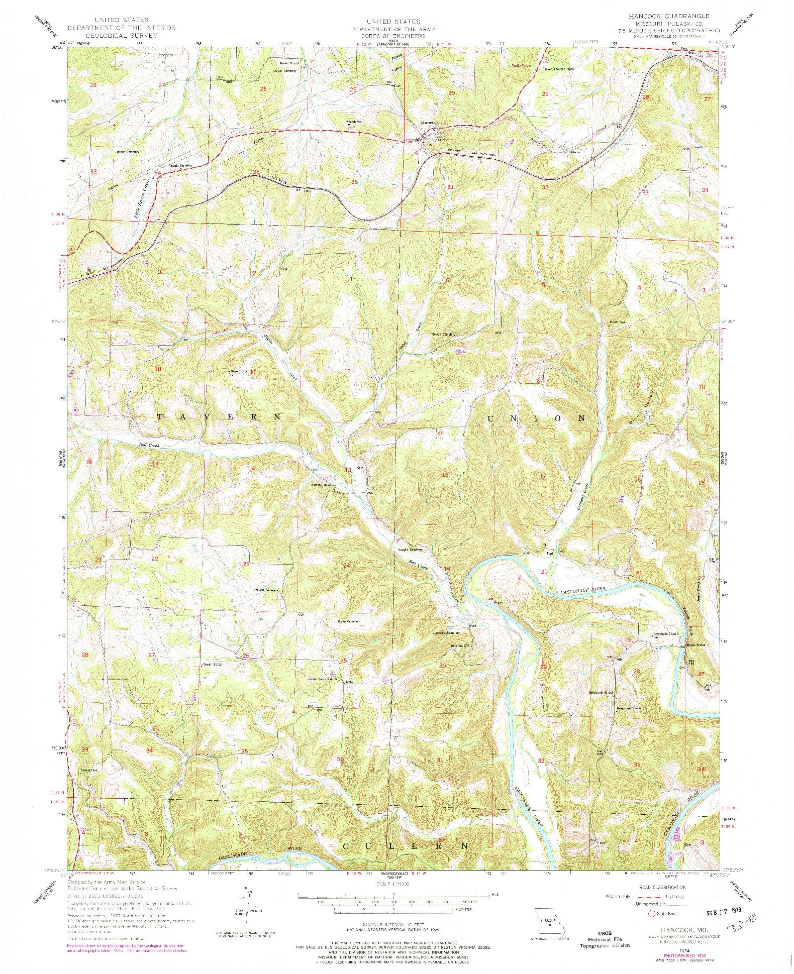 USGS 1:24000-SCALE QUADRANGLE FOR HANCOCK, MO 1954