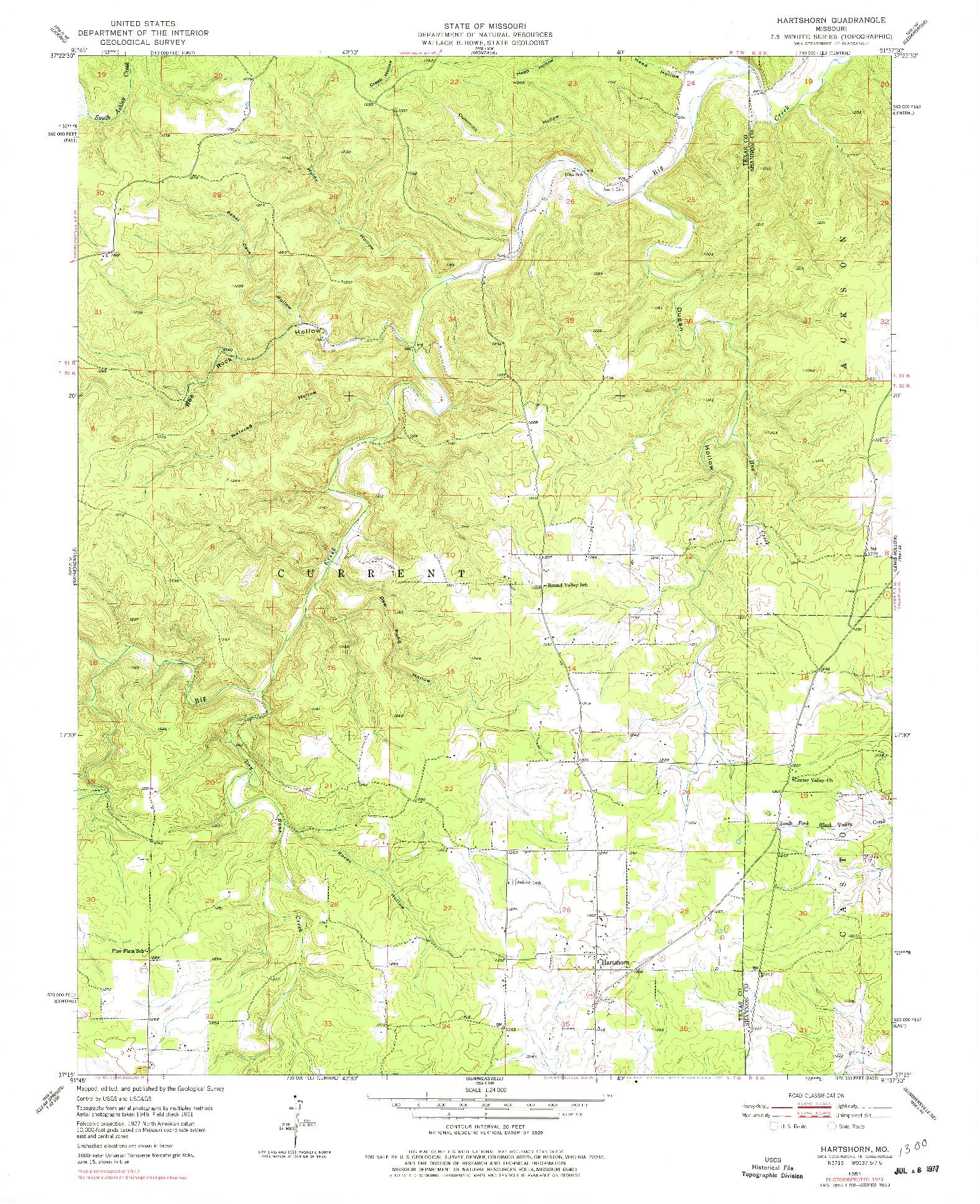 USGS 1:24000-SCALE QUADRANGLE FOR HARTSHORN, MO 1951