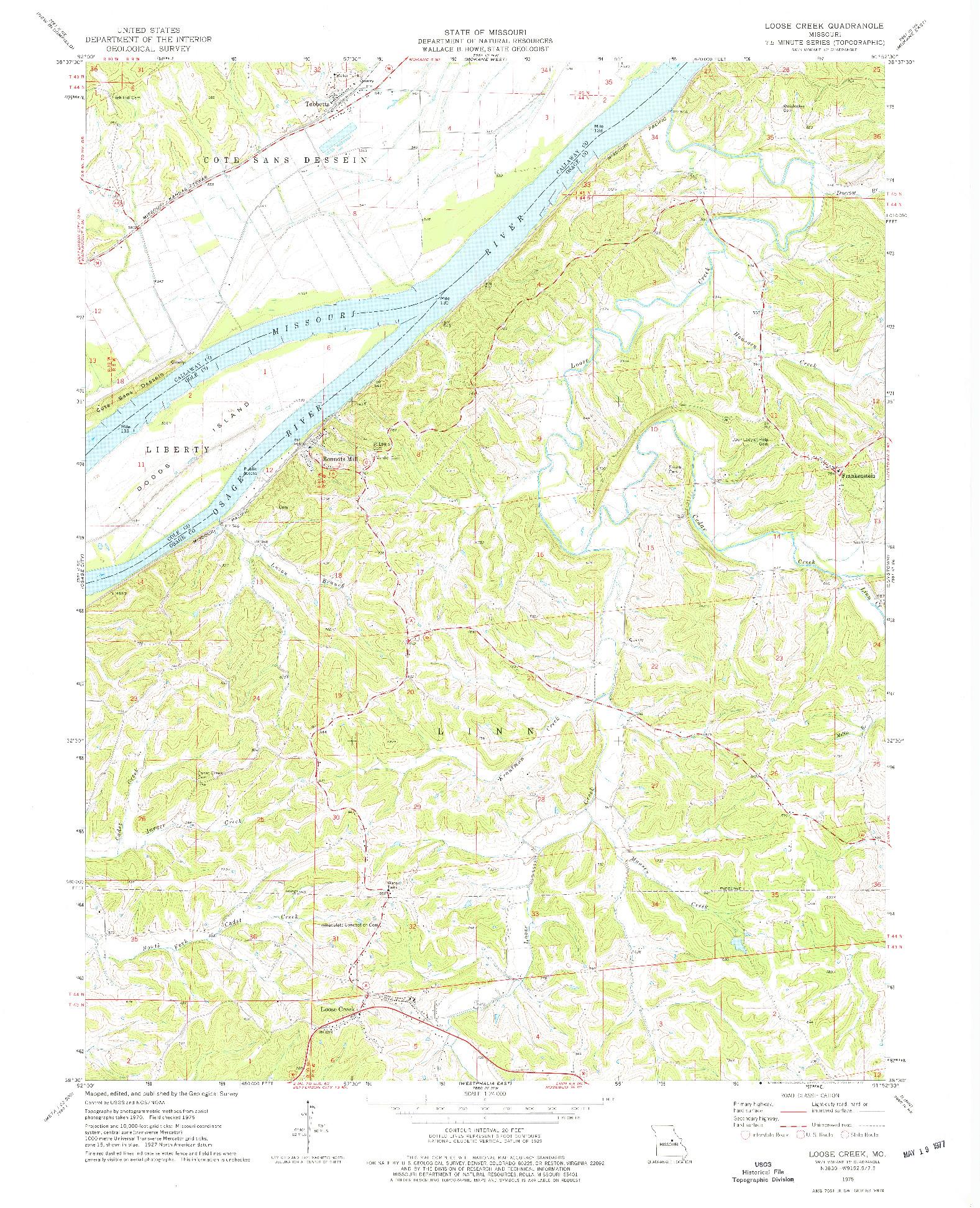 USGS 1:24000-SCALE QUADRANGLE FOR LOOSE CREEK, MO 1975