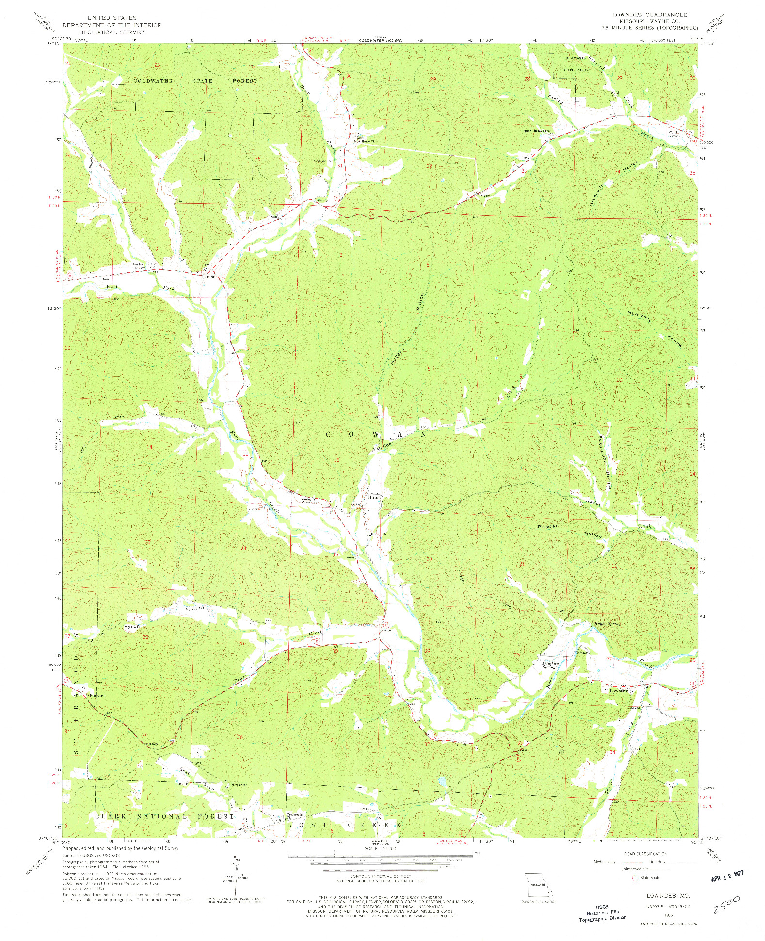 USGS 1:24000-SCALE QUADRANGLE FOR LOWNDES, MO 1965
