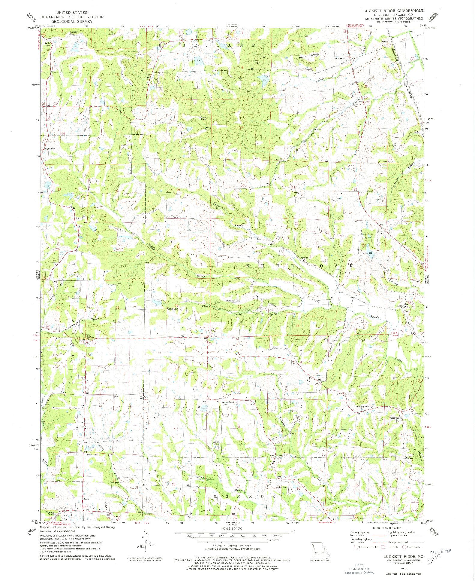USGS 1:24000-SCALE QUADRANGLE FOR LUCKETT RIDGE, MO 1975