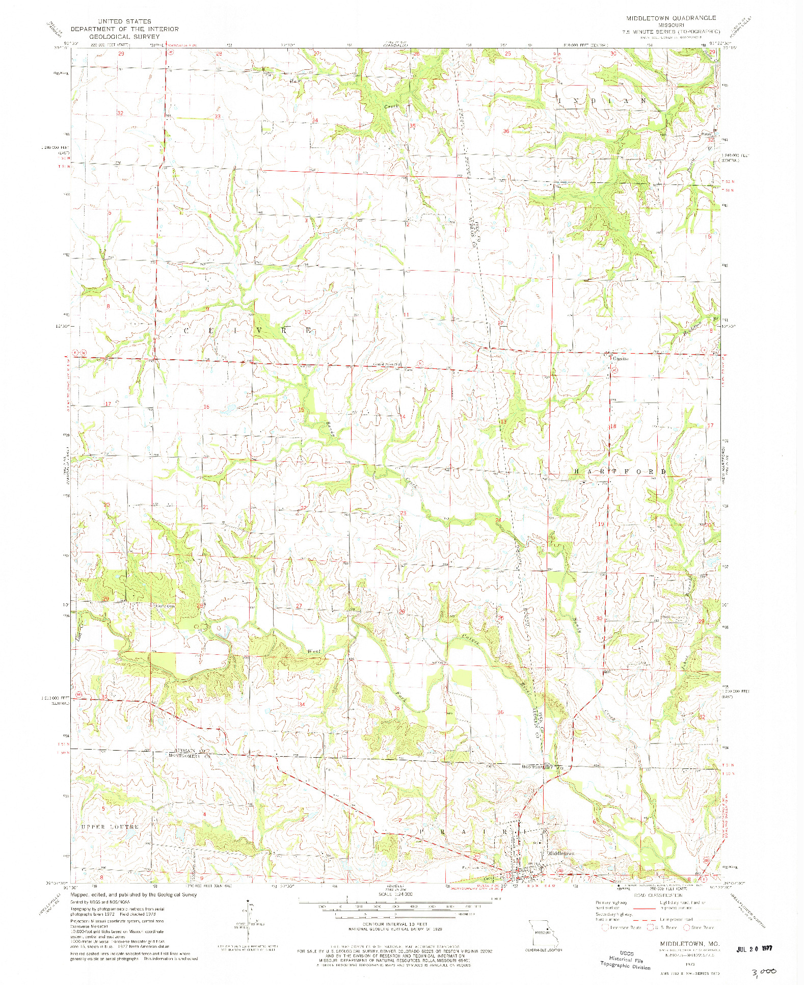 USGS 1:24000-SCALE QUADRANGLE FOR MIDDLETOWN, MO 1973
