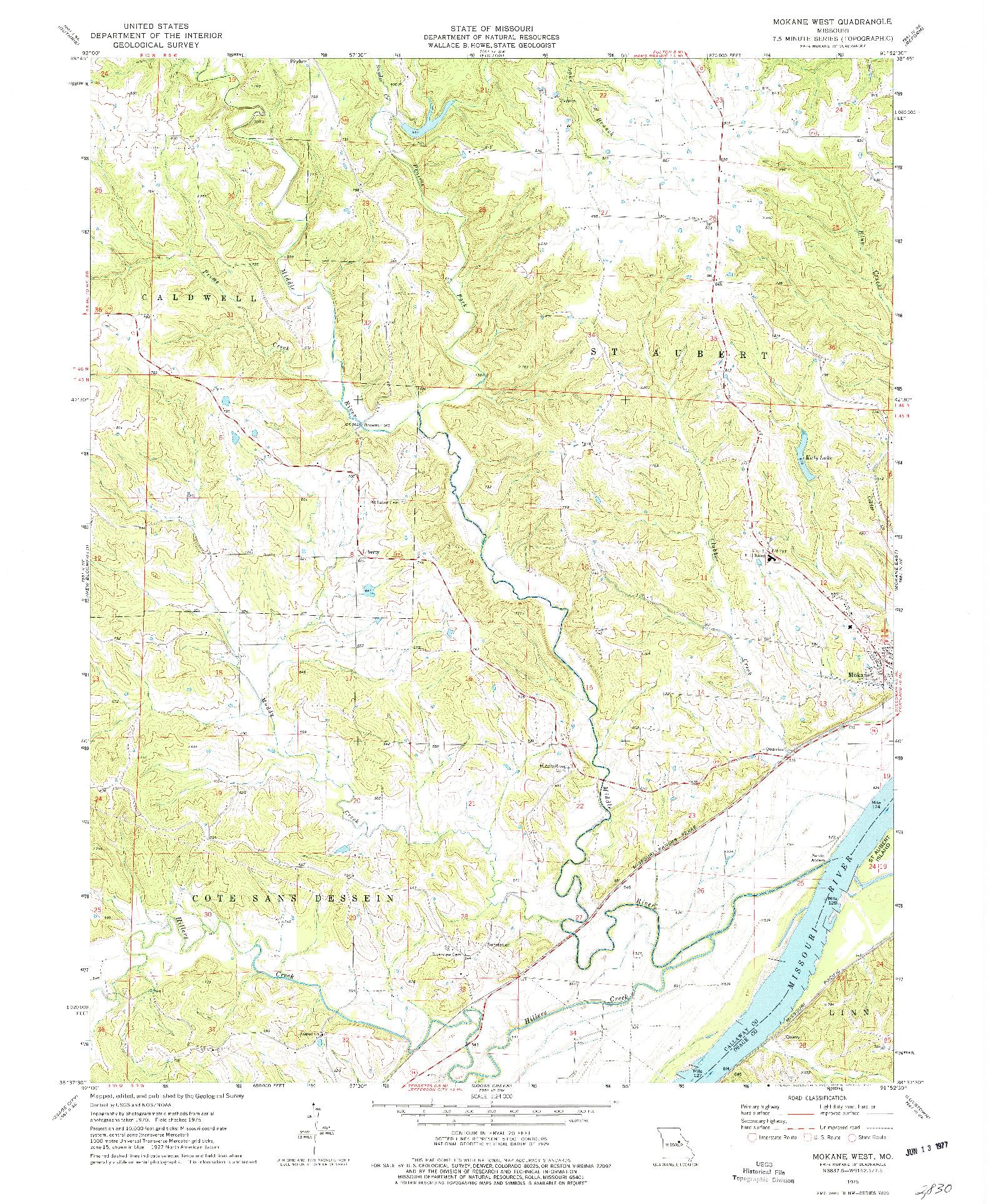 USGS 1:24000-SCALE QUADRANGLE FOR MOKANE WEST, MO 1975