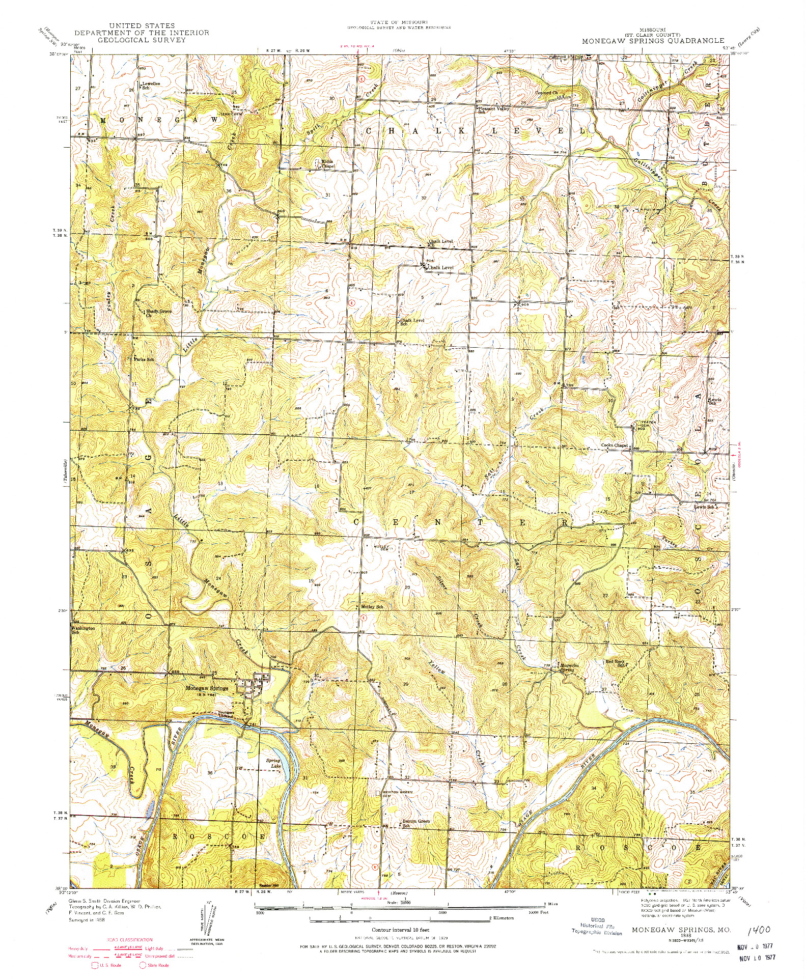 USGS 1:24000-SCALE QUADRANGLE FOR MONEGAW SPRINGS, MO 1938