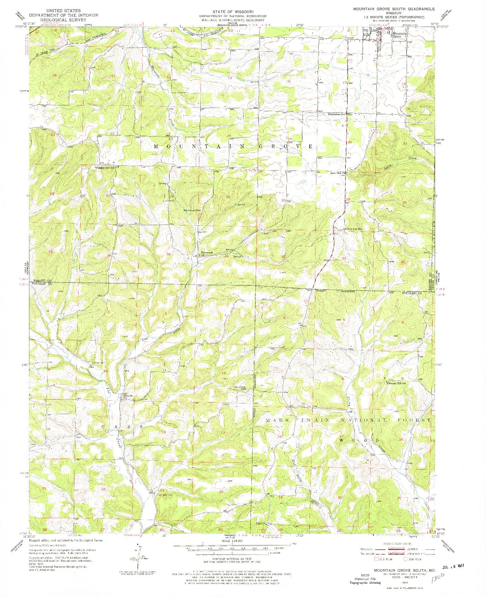 USGS 1:24000-SCALE QUADRANGLE FOR MOUNTAIN GROVE SOUTH, MO 1951