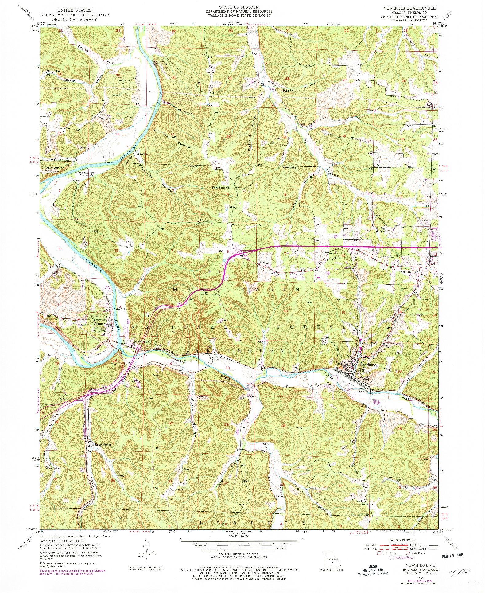 USGS 1:24000-SCALE QUADRANGLE FOR NEWBURG, MO 1950