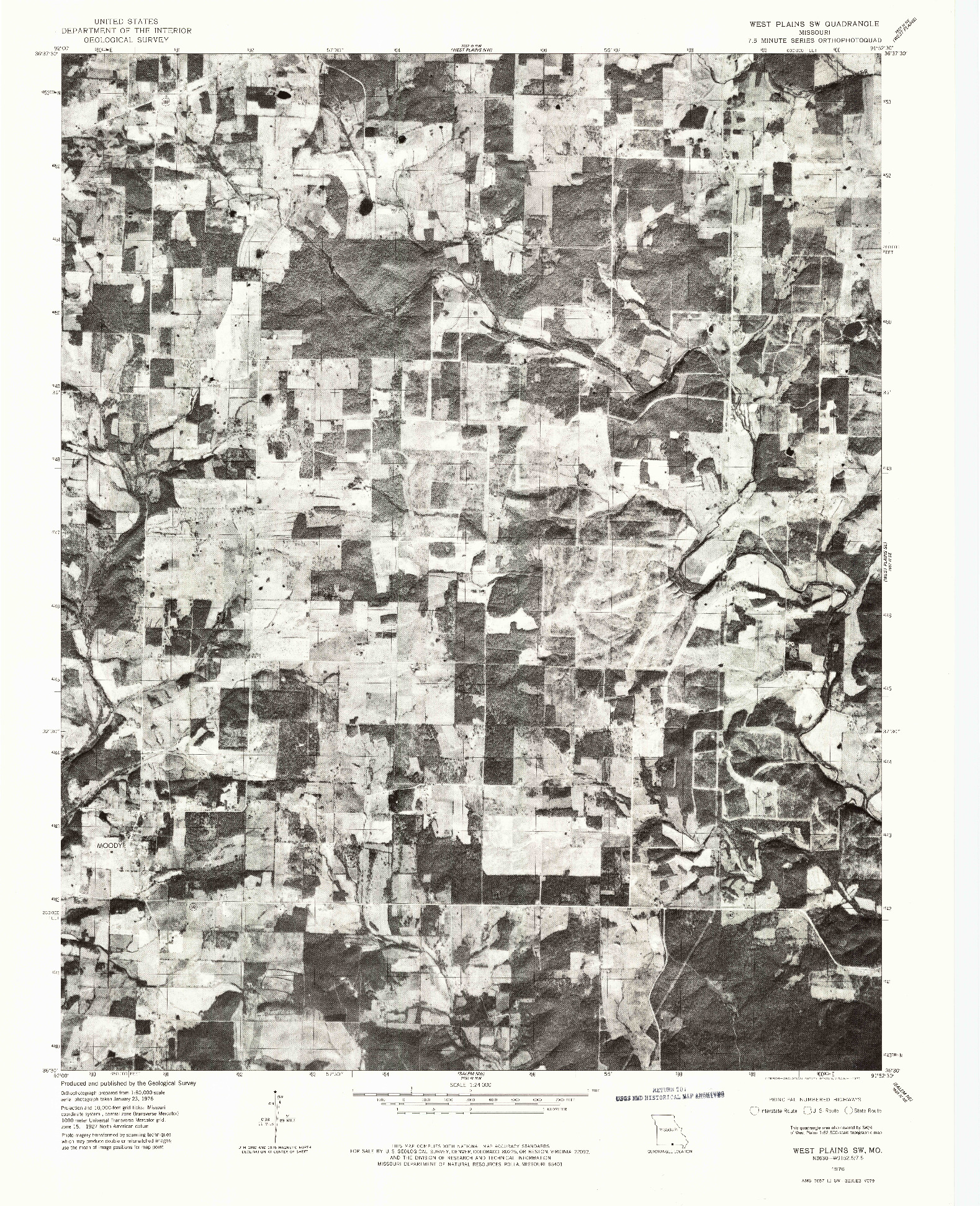 USGS 1:24000-SCALE QUADRANGLE FOR WEST PLAINS SW, MO 1976