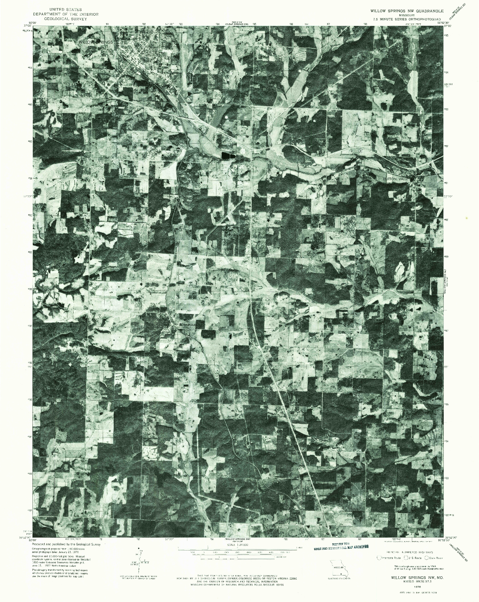 USGS 1:24000-SCALE QUADRANGLE FOR WILLOW SPRINGS NW, MO 1976