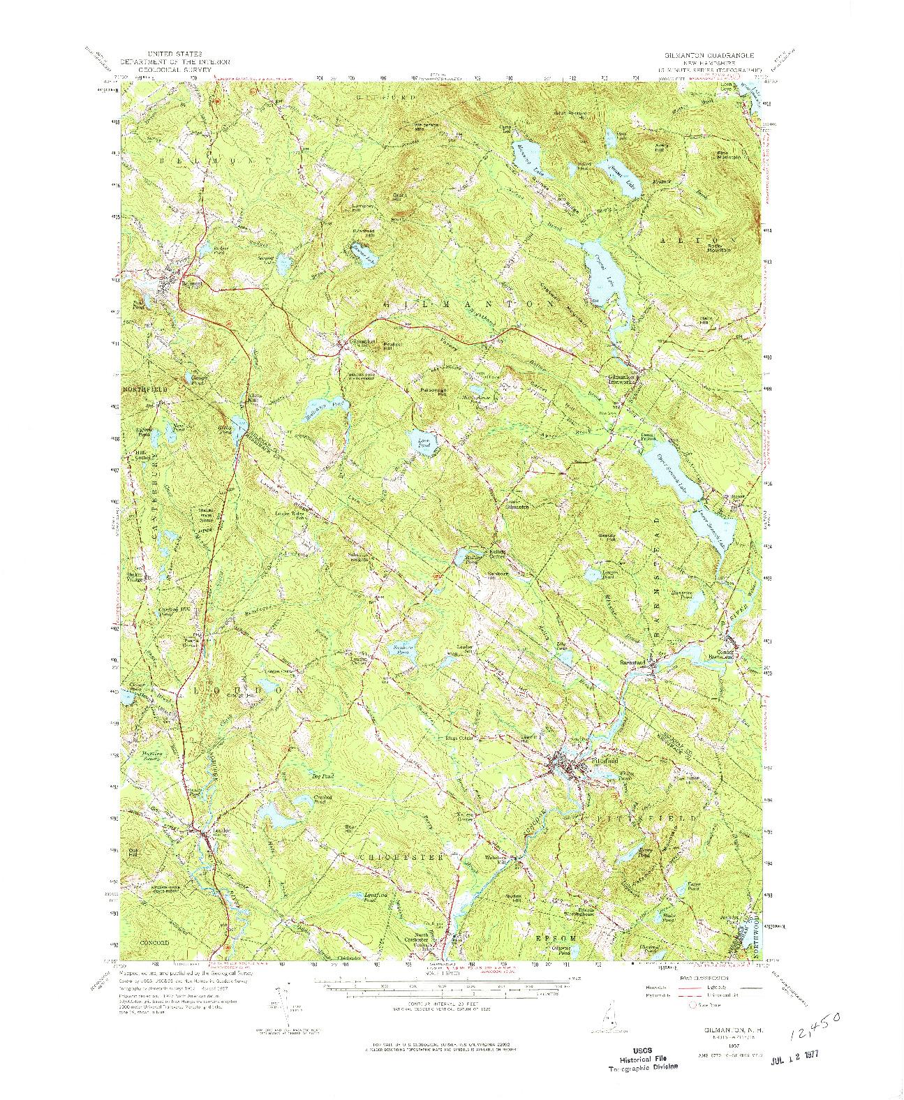 USGS 1:62500-SCALE QUADRANGLE FOR GILMANTON, NH 1957