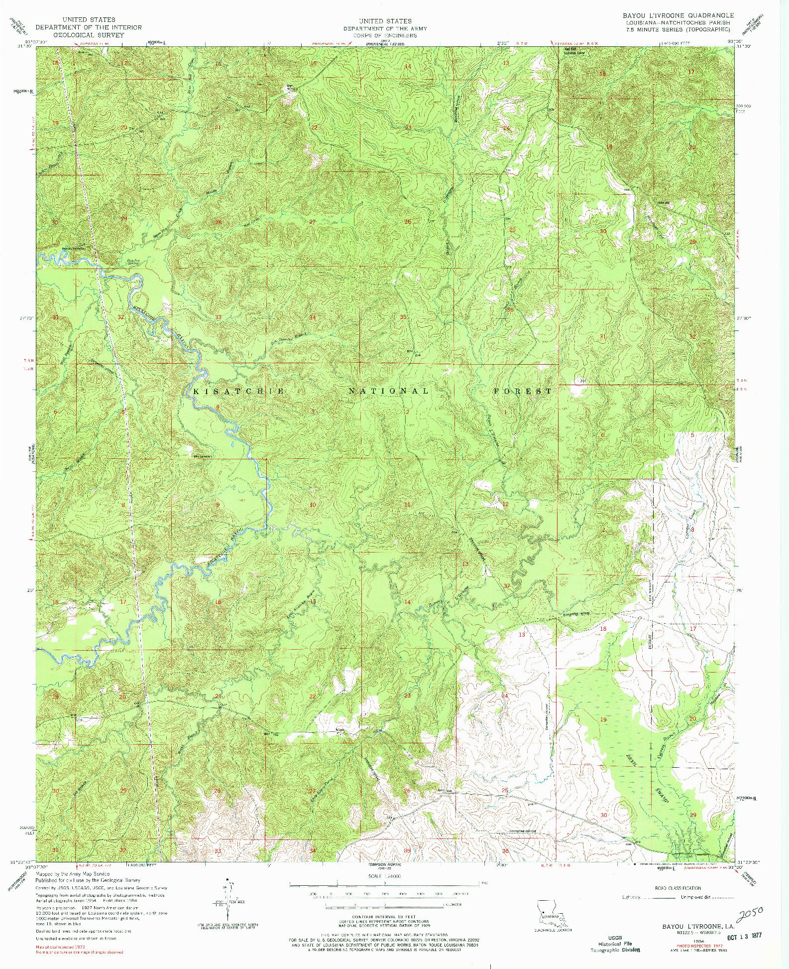 USGS 1:24000-SCALE QUADRANGLE FOR BAYOU L'IVROGNE, LA 1954