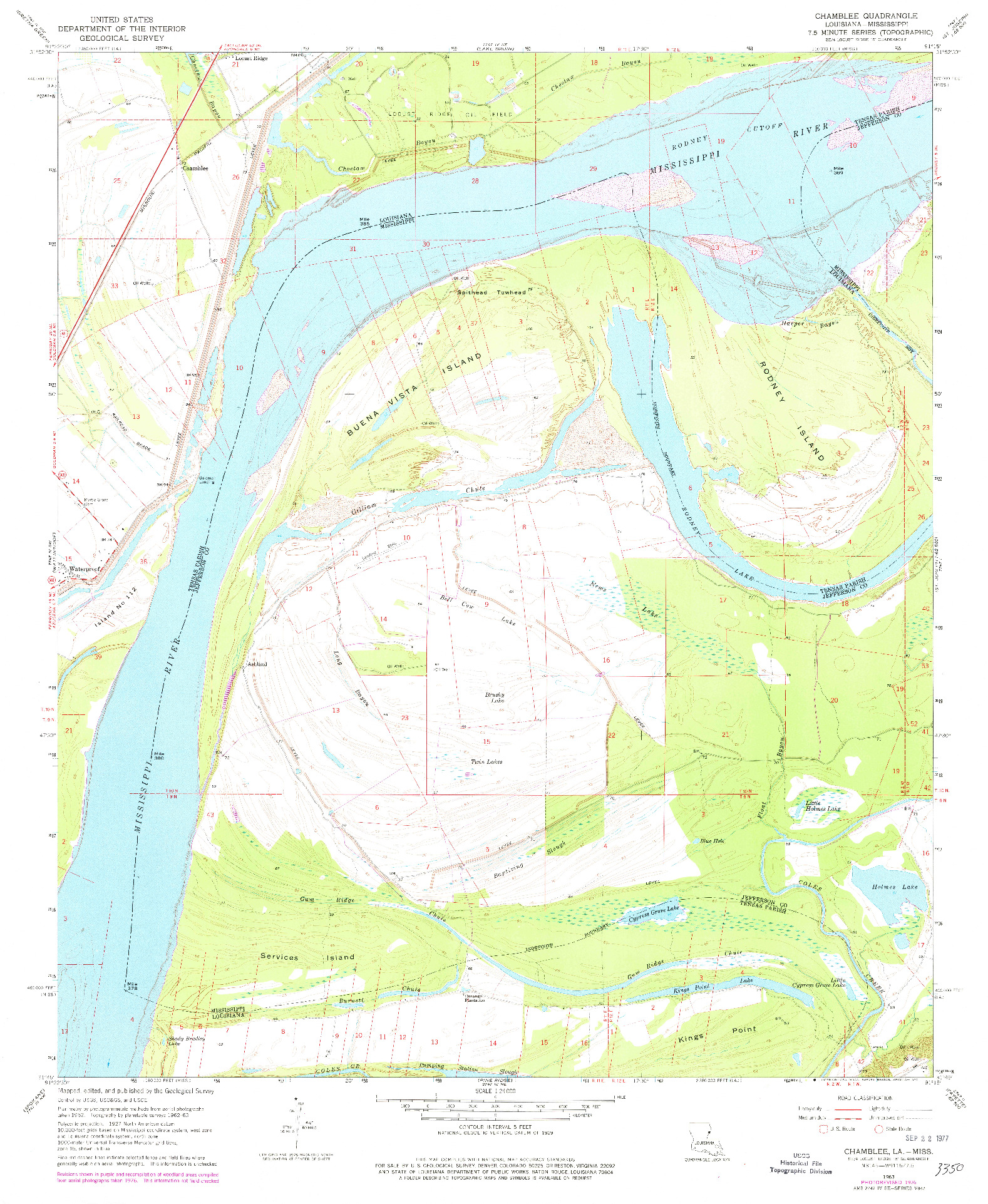 USGS 1:24000-SCALE QUADRANGLE FOR CHAMBLEE, LA 1963